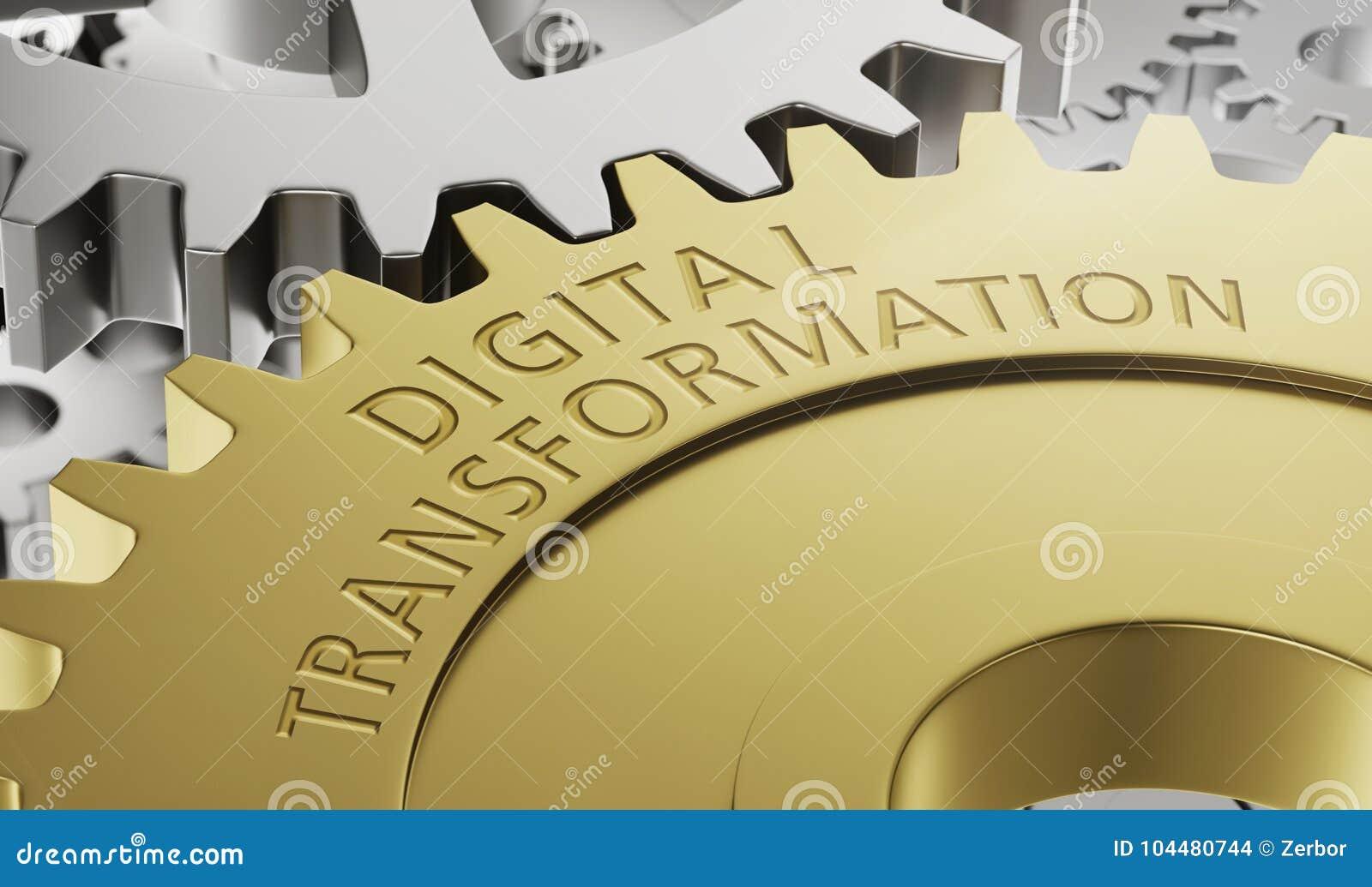 De wielen van het metaaltoestel met de gravure Digitale Transformatie