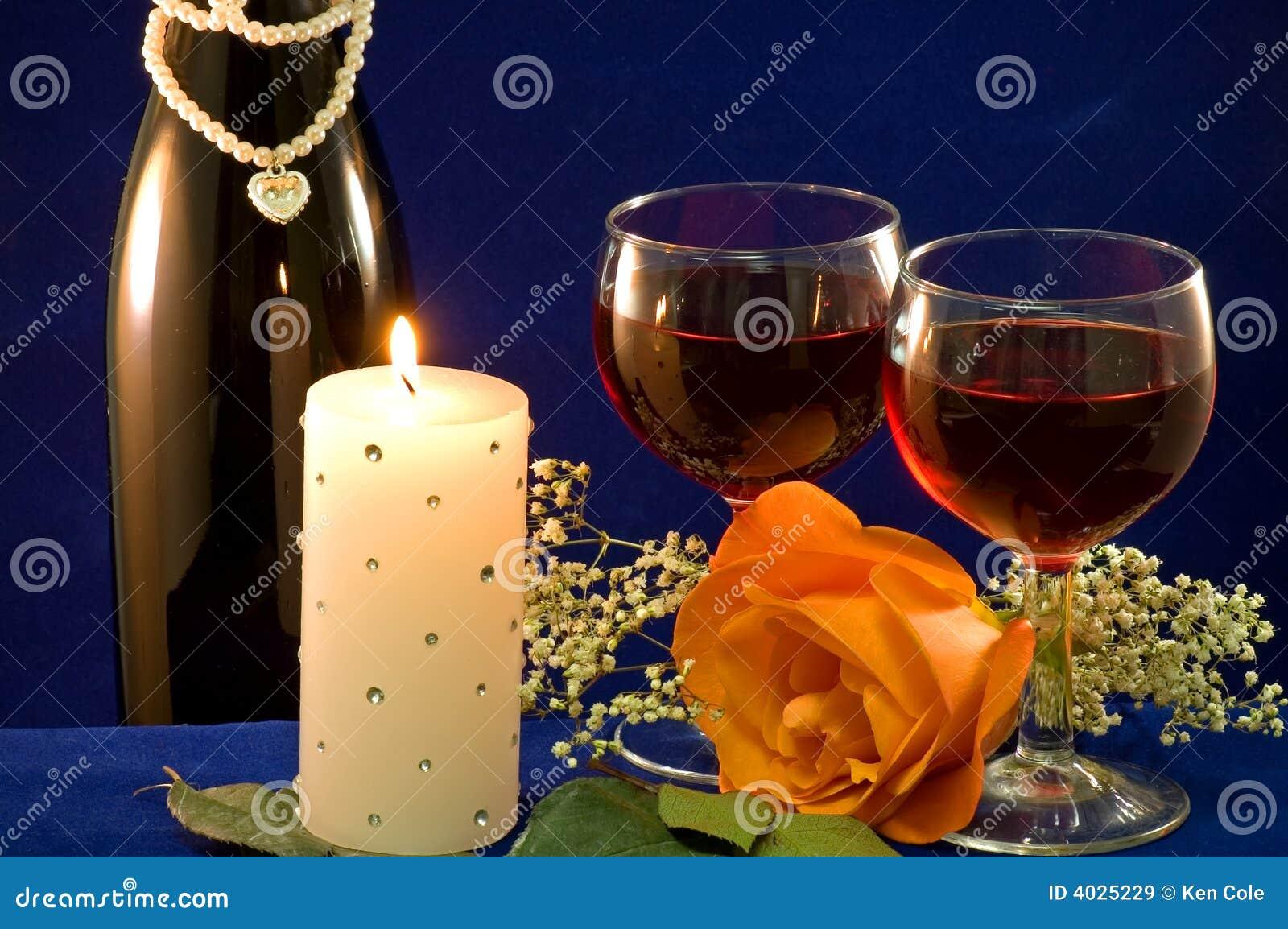 De wijn candlight en nam toe royalty vrije stock afbeeldingen afbeelding 4025229 - Draadloze bloei lamp ...