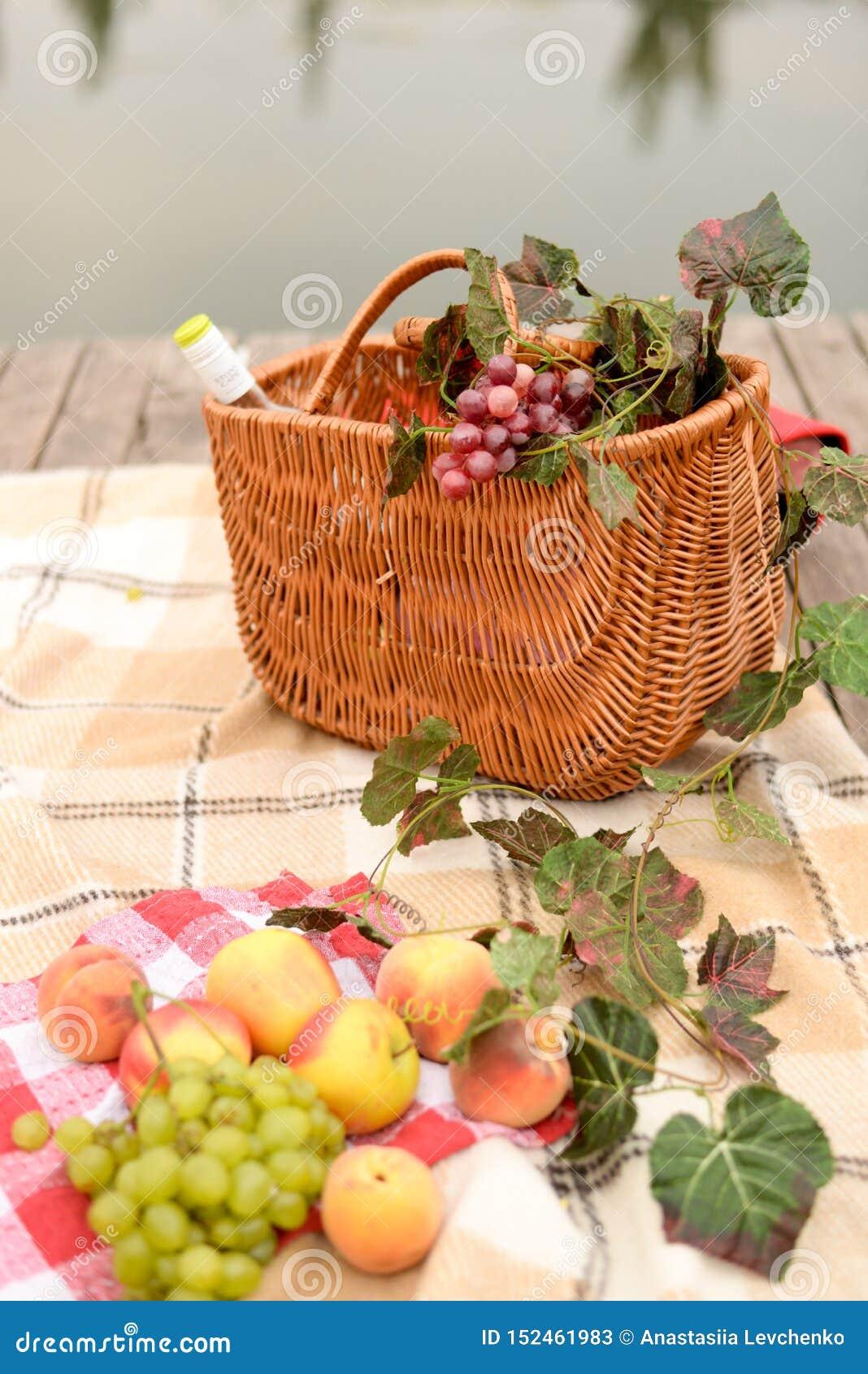 De wijn en de vruchten van de picknickmand met meermening