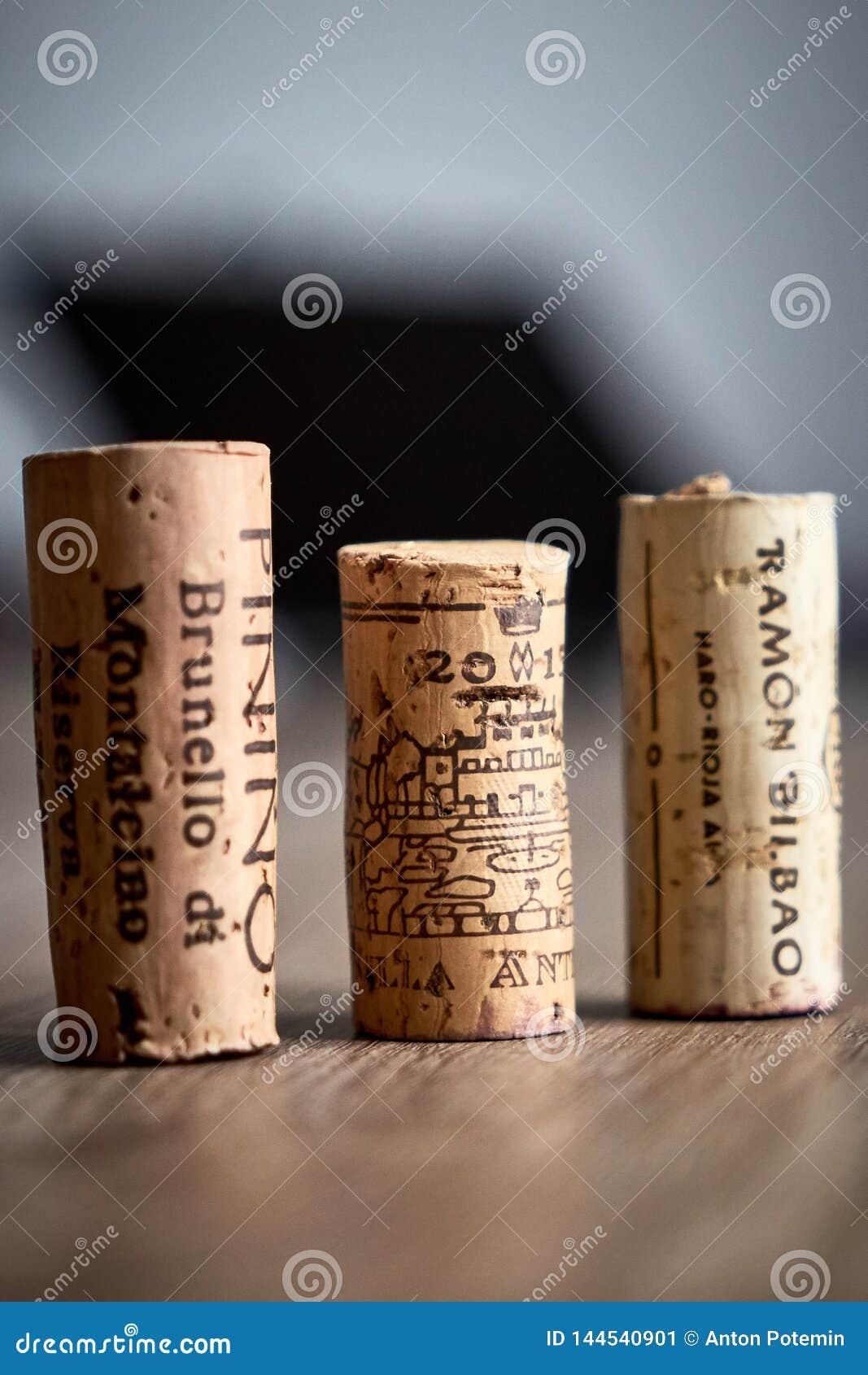 De wijn kurkt legt op de lijst