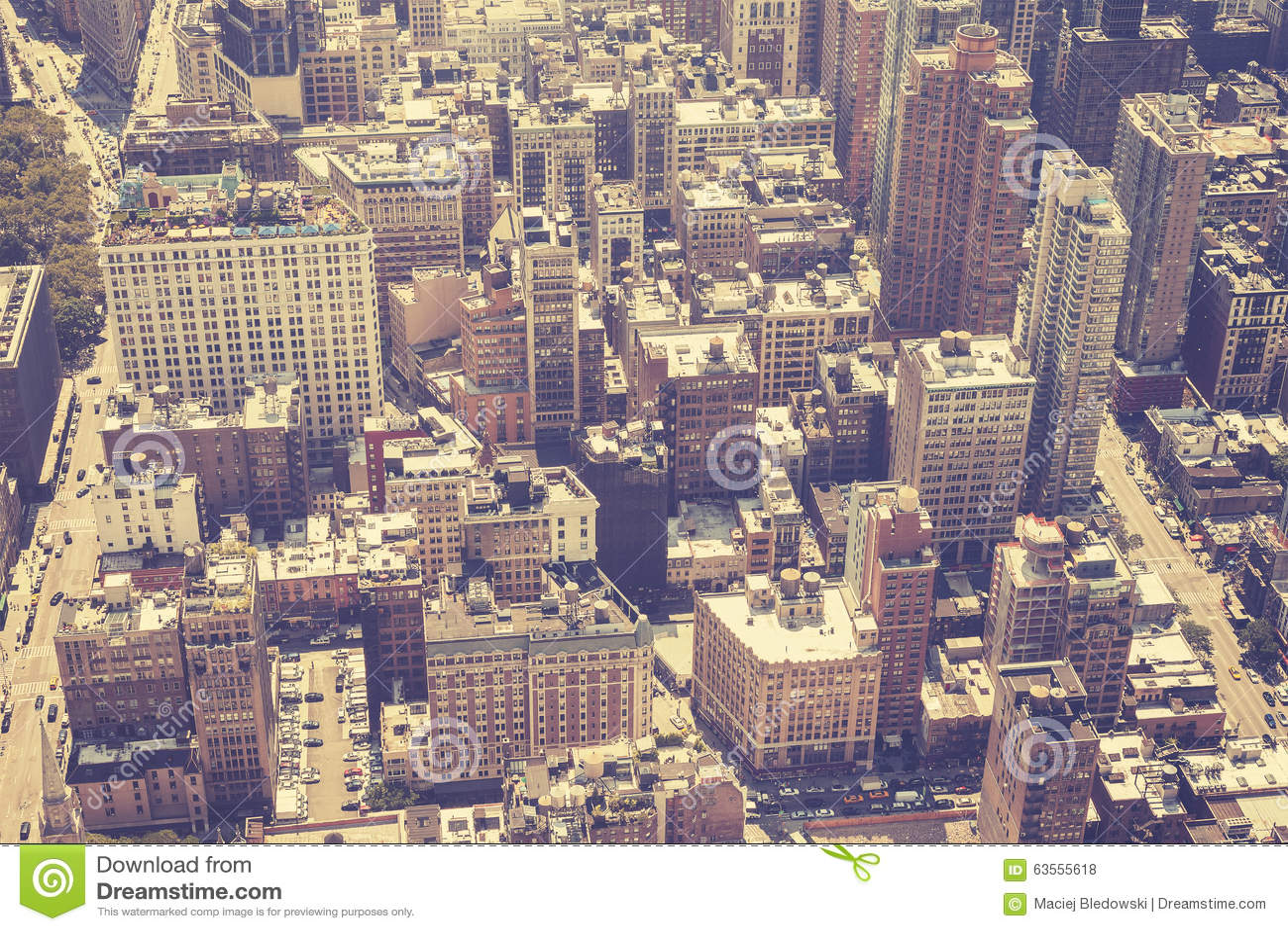 De wijnoogst stileerde luchtbeeld van Manhattan, NYC
