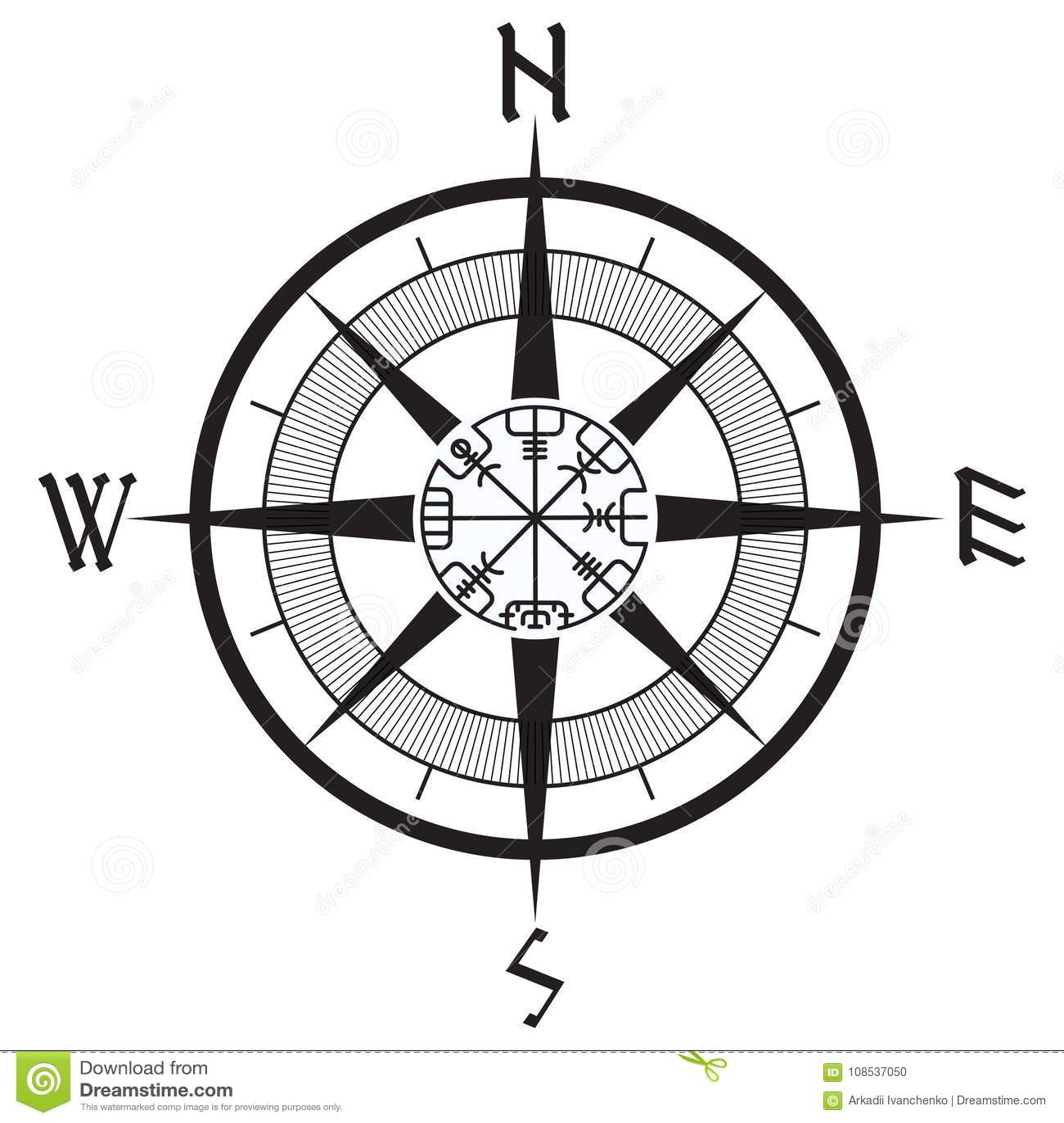 De Wind Nam Navigatie Runen Kompas Vegvisir Toe Vector