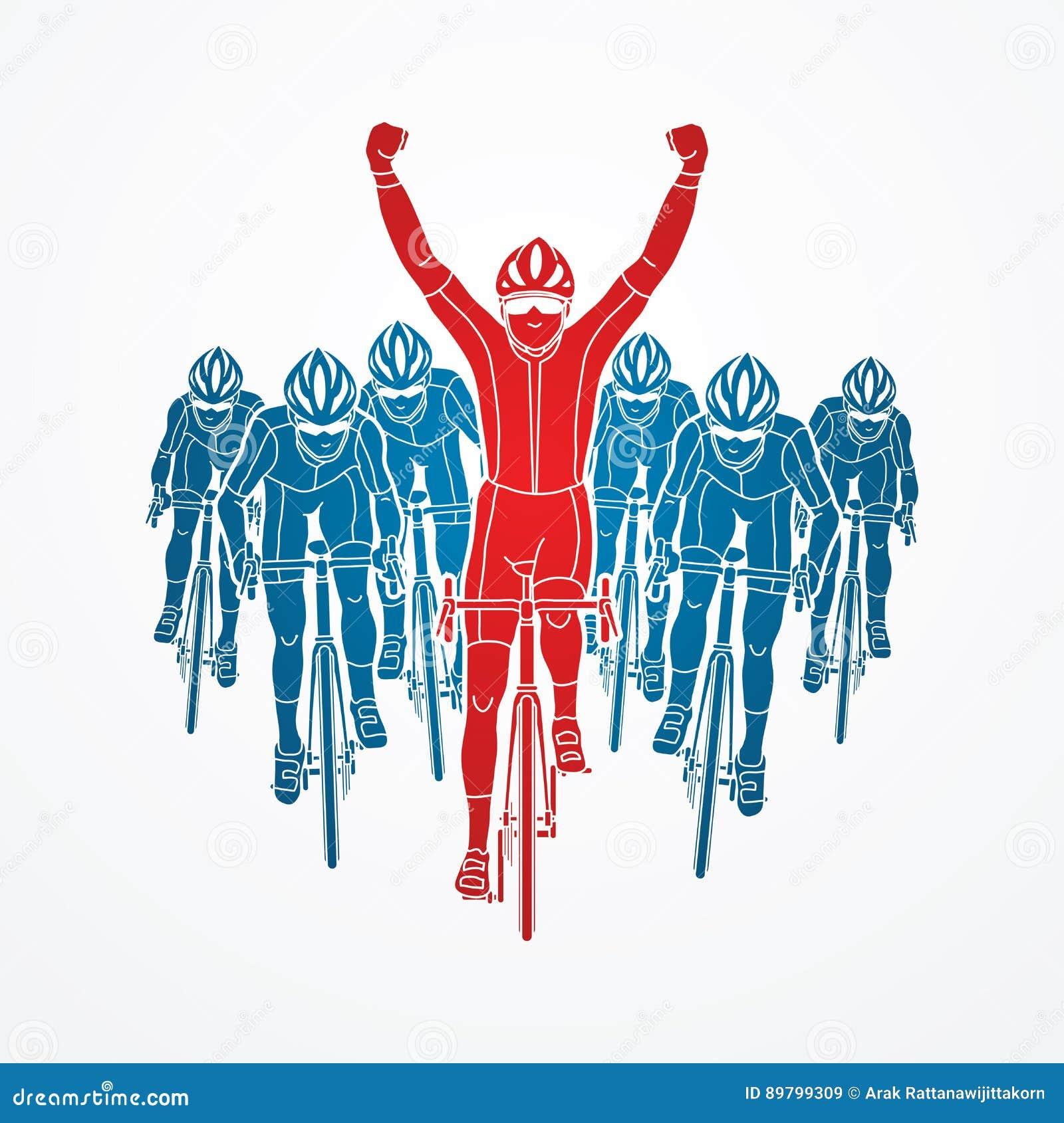 De winnaar met groep het biking
