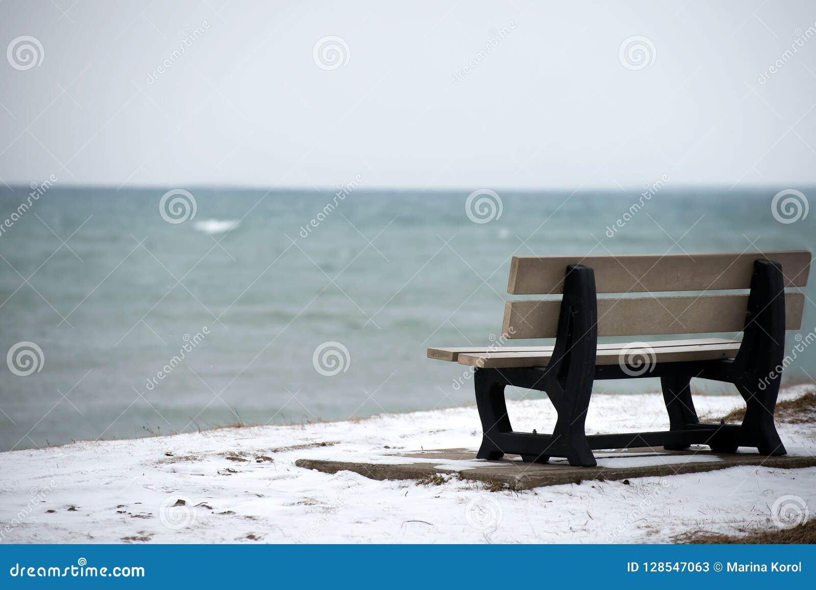 De winter/daling De foto van de bank op de oceaankosten met een beetje van sneeuw ter plaatse Het blauwe water van de oceaan is o