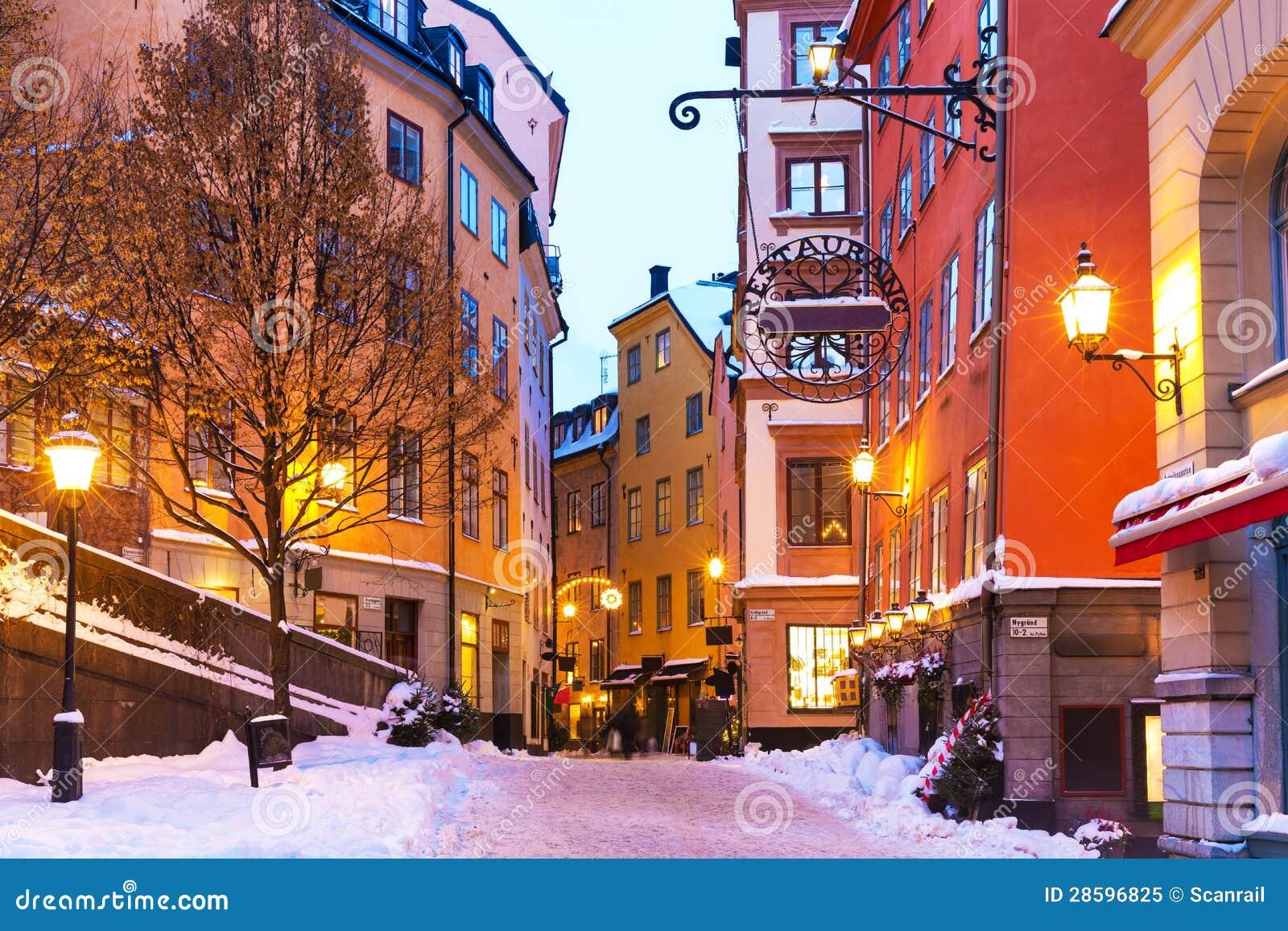 De winter in de Oude Stad in Stockholm, Zweden
