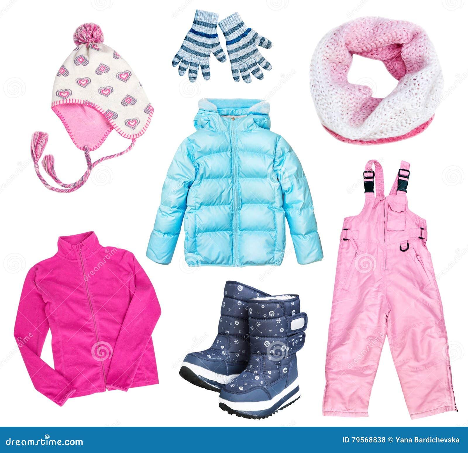 De winter kid& x27; s child& x27; s kleren geplaatst geïsoleerde collage