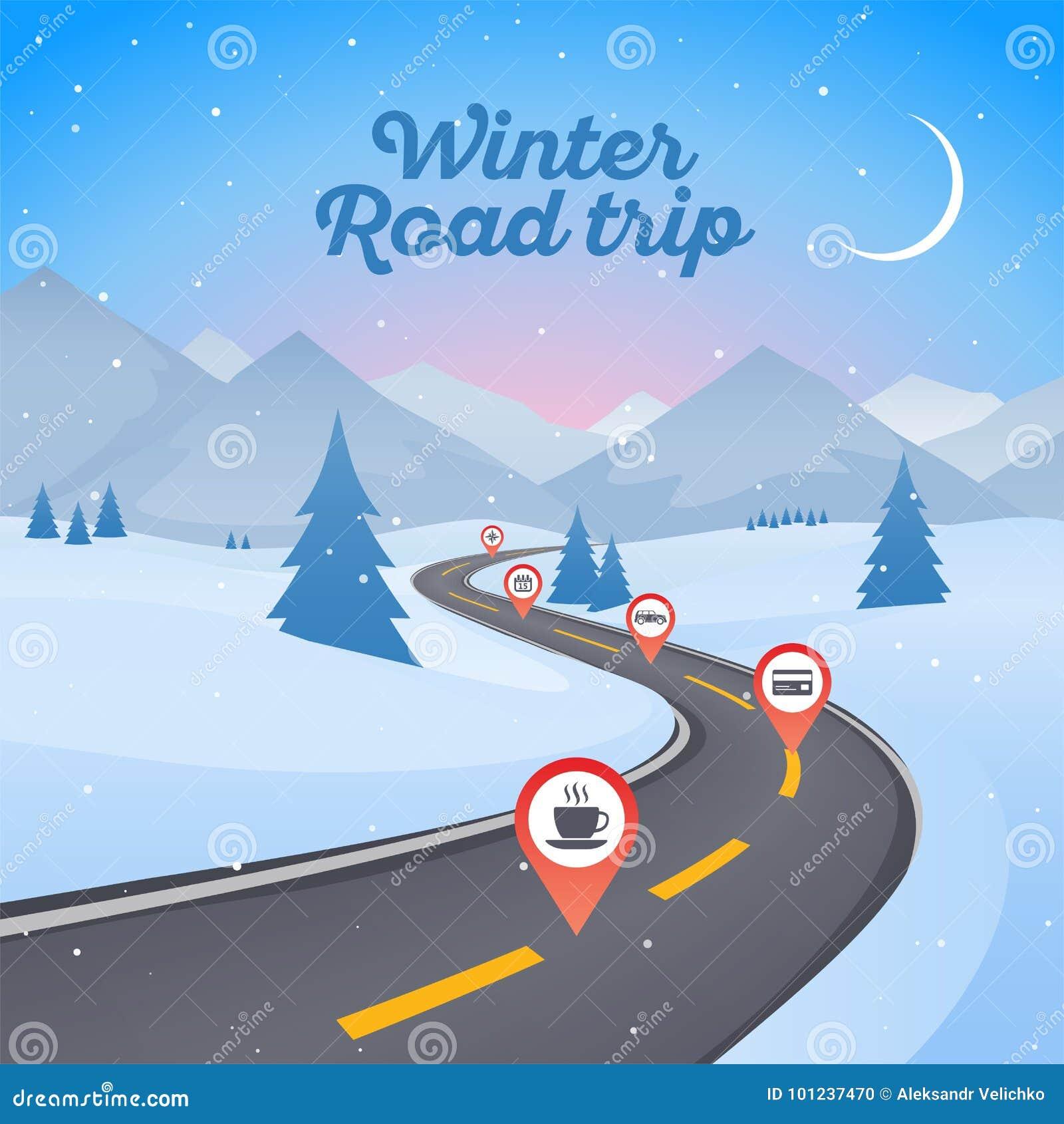 De winter sneeuwlandschap met het winden van wegweg Nieuwjaar backg