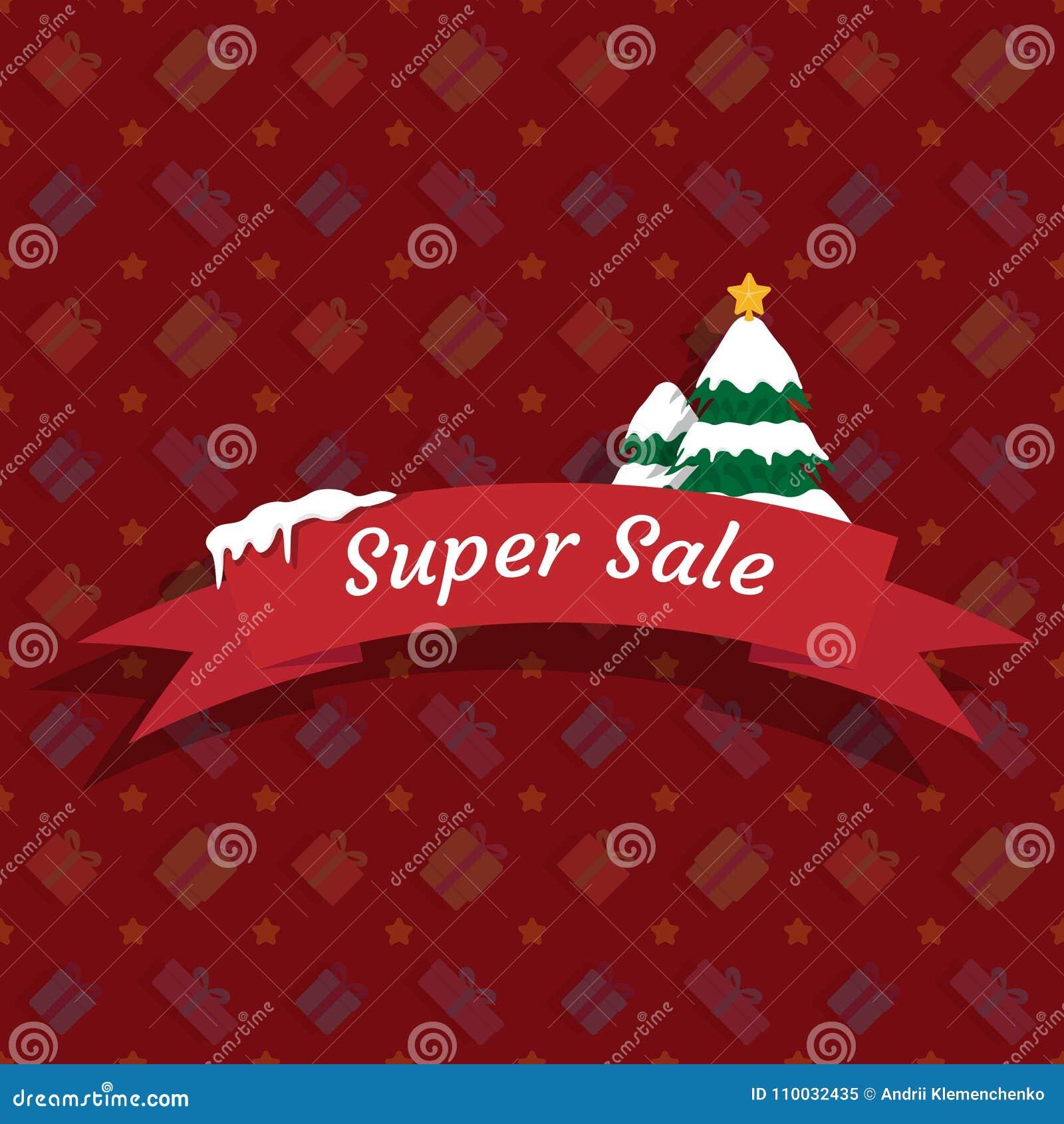 De winter super verkoop met Kerstbomen op een rode achtergrond Vector illustratie