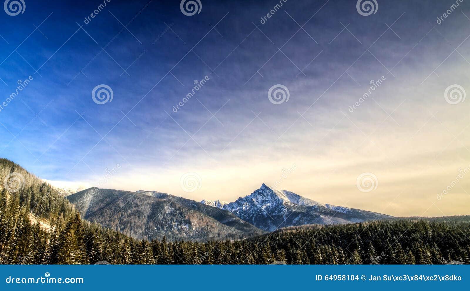 De winter toneelmening van bergen, Krivan, Slowakije, Oost-Europa