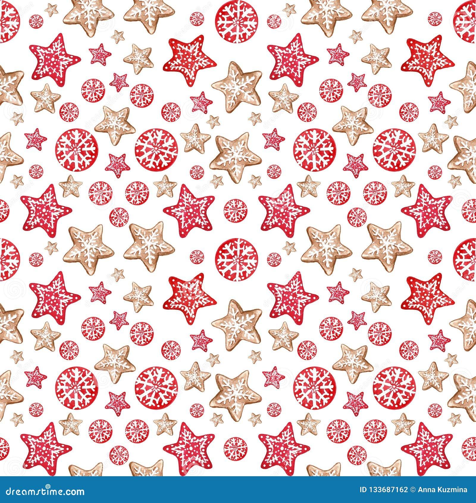 De winter Vrolijke Kerstmis en feestelijke naadloze het patroonachtergrond van Nye Year met peperkoekkoekjes