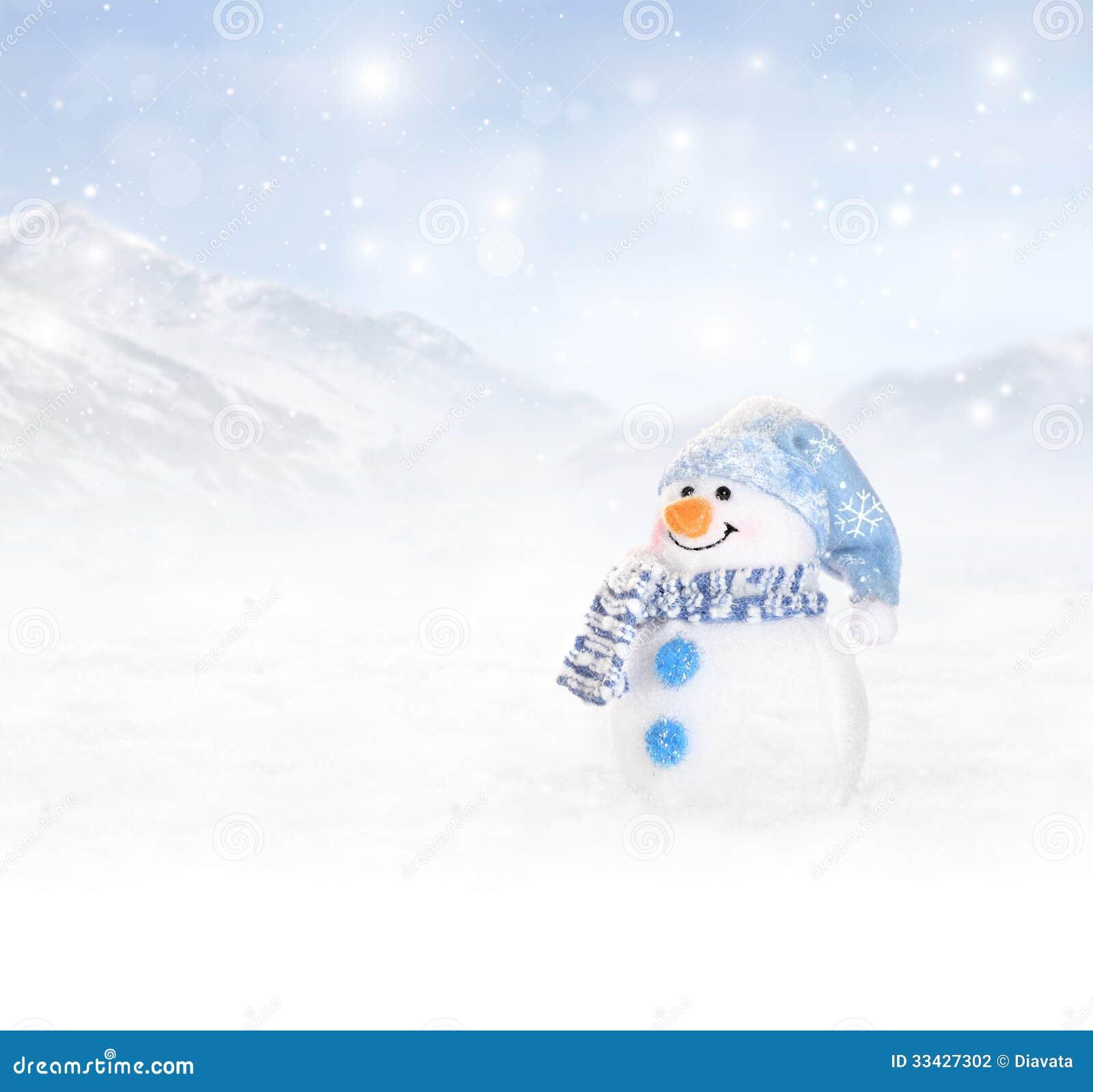 De winterachtergrond met sneeuwman