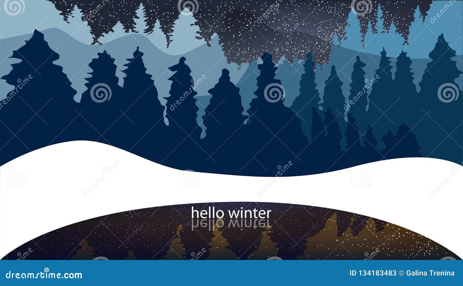 De winterbos, naaldbomen, sneeuwval Achtergrond met woorden hello w