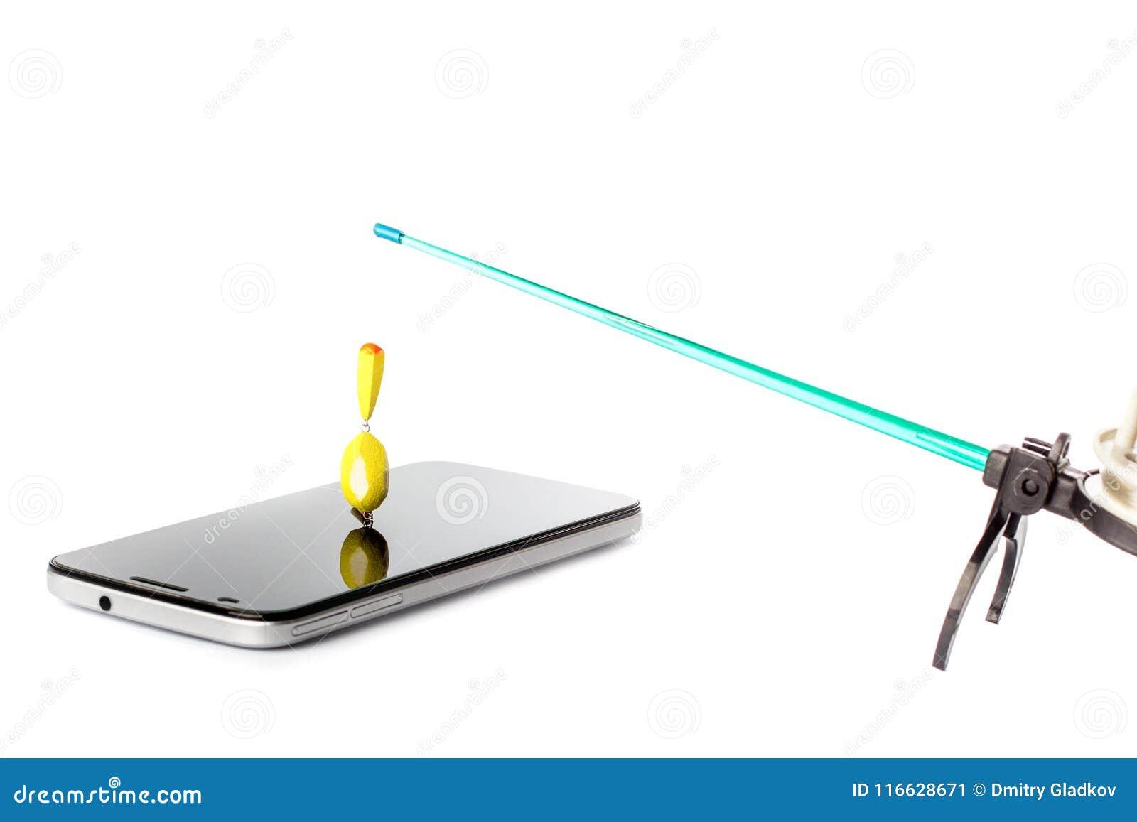 De winterhengel met vlotter in het smartphonescherm