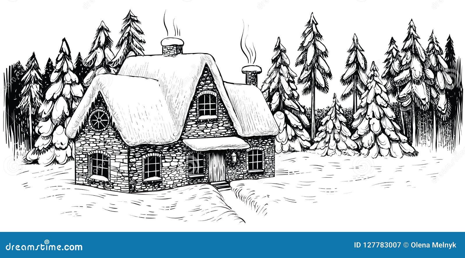 De winterhuis door sparren en pijnbomen wordt, met sneeuw worden behandeld omringd die Kerstmis idyllisch landschap