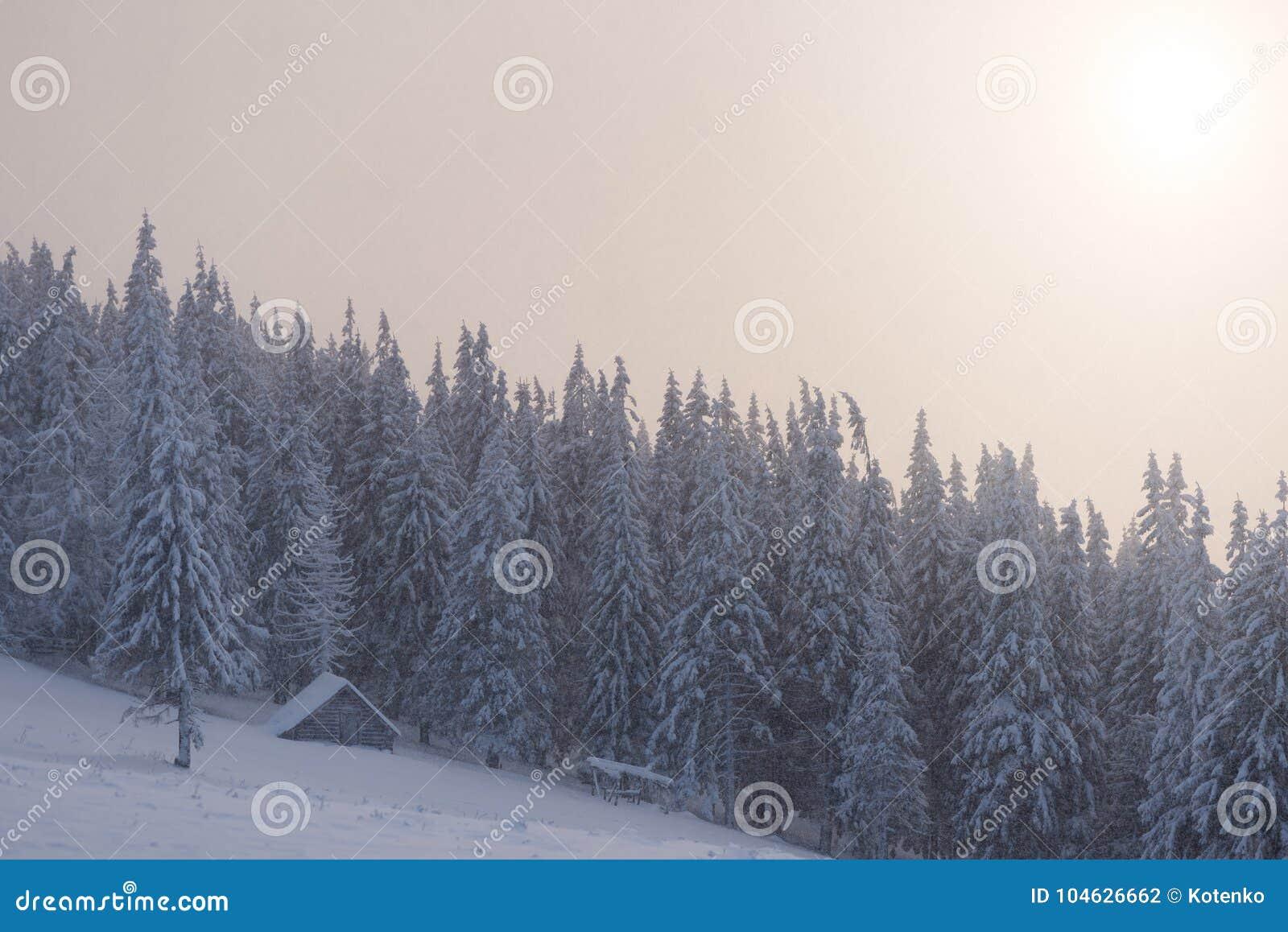 Download De Winterlandschap Met Blokhuis In De Bergen Stock Foto - Afbeelding bestaande uit landschap, ochtend: 104626662