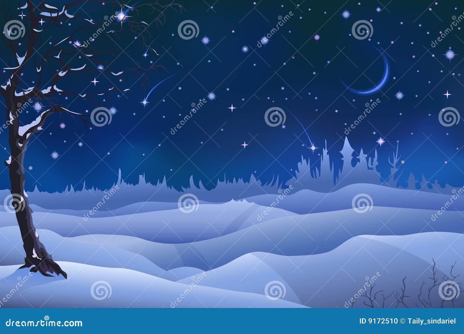 De winterlandschap van de avond
