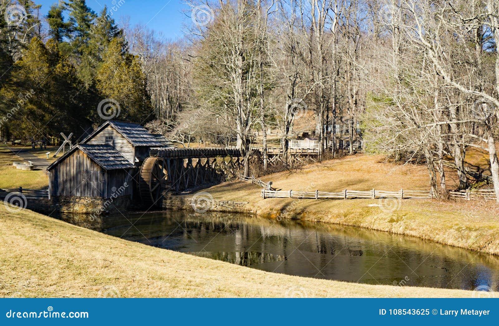 De wintermening van Mabry-Molen, Blauw Ridge Parkway, Virginia