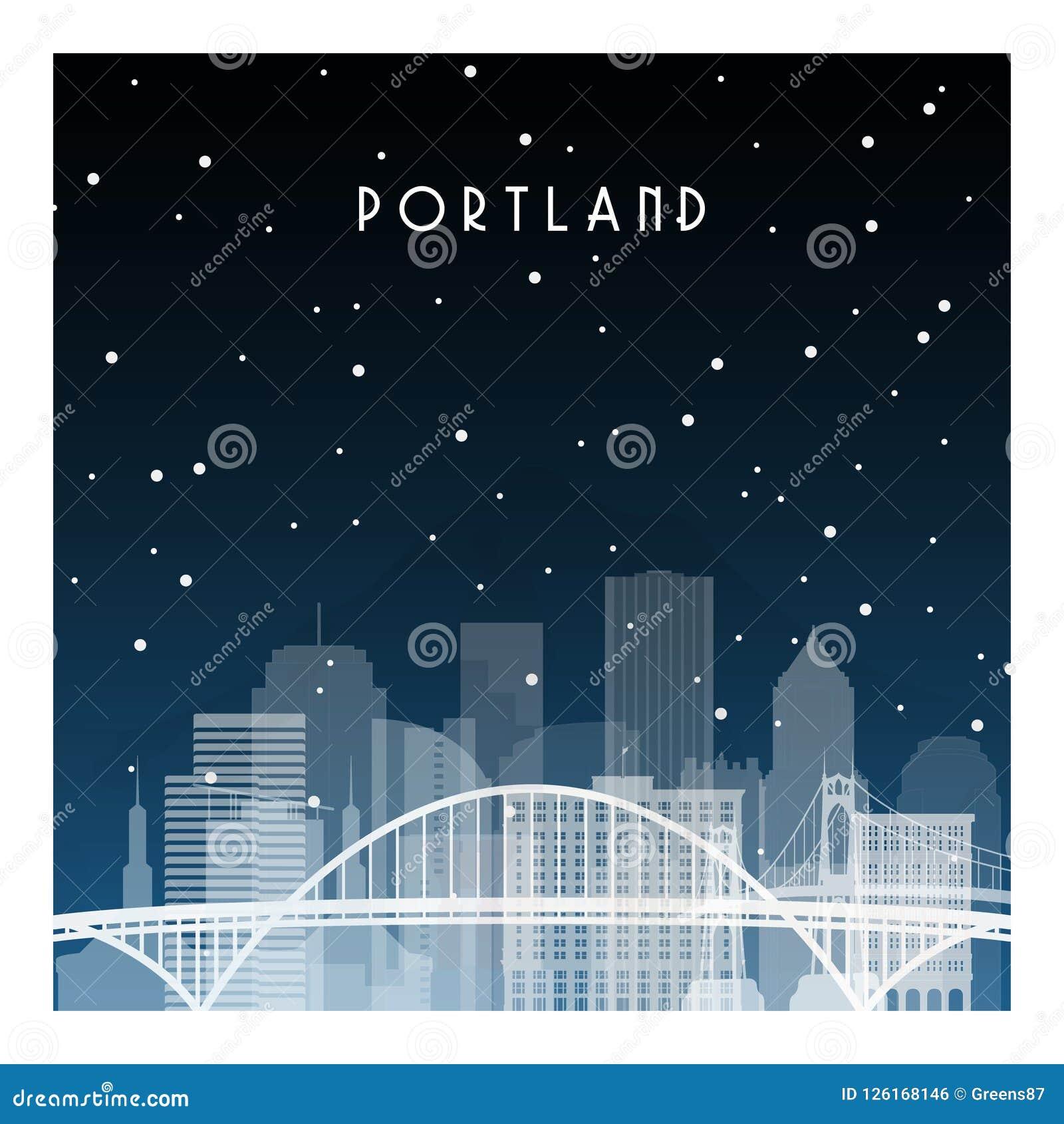 De winternacht in Portland