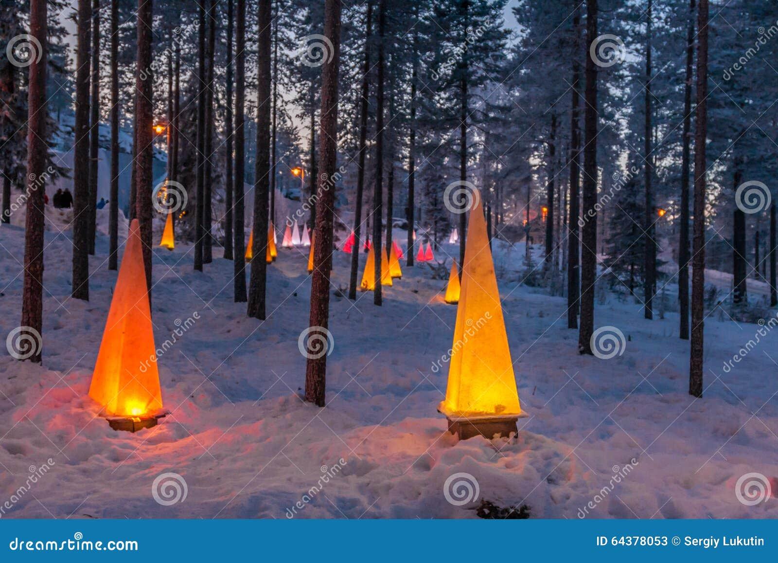 De winterscène met flitslichten