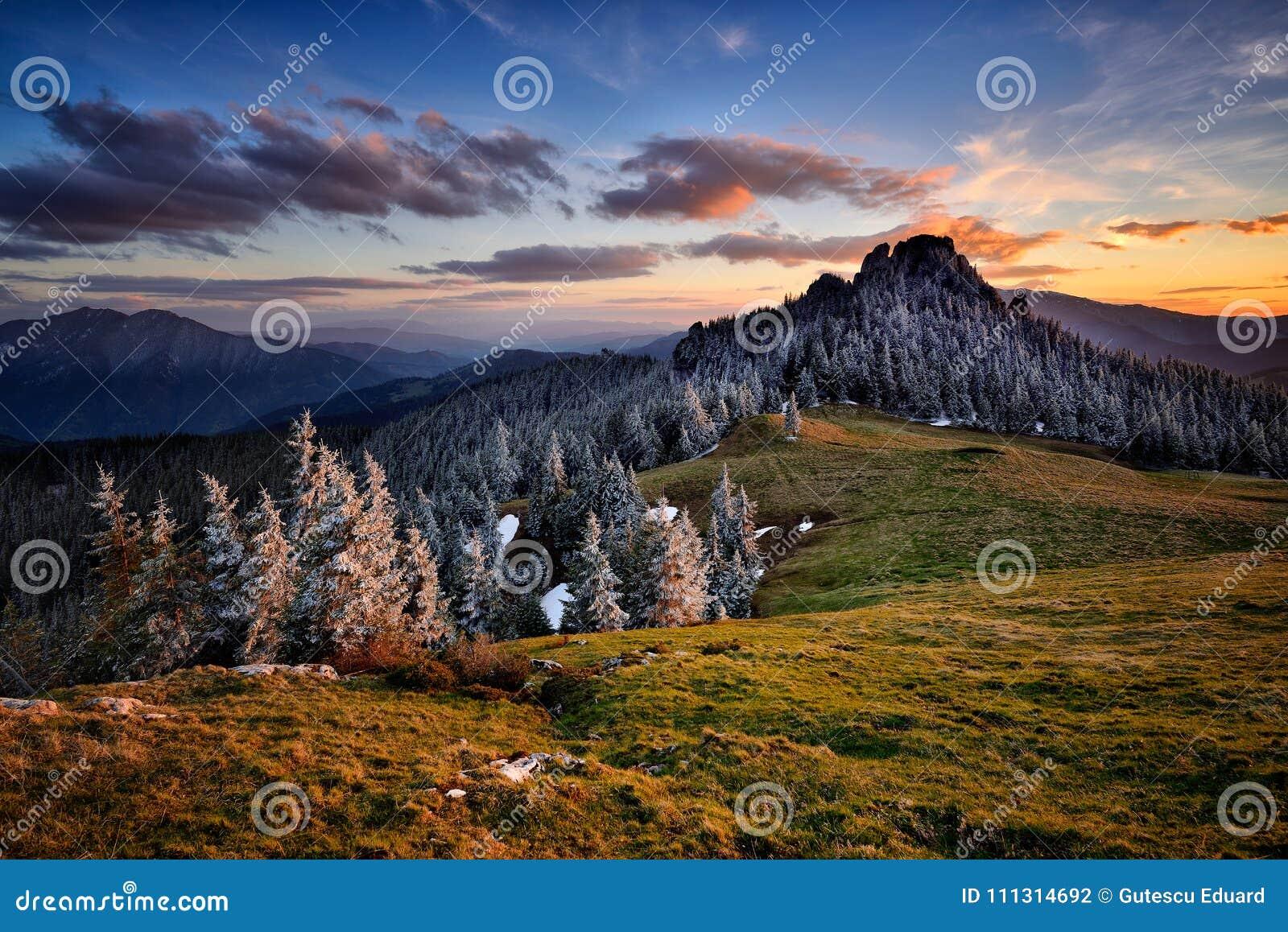 De winterscène in Roemenië, mooi landschap van wilde Karpatische bergen