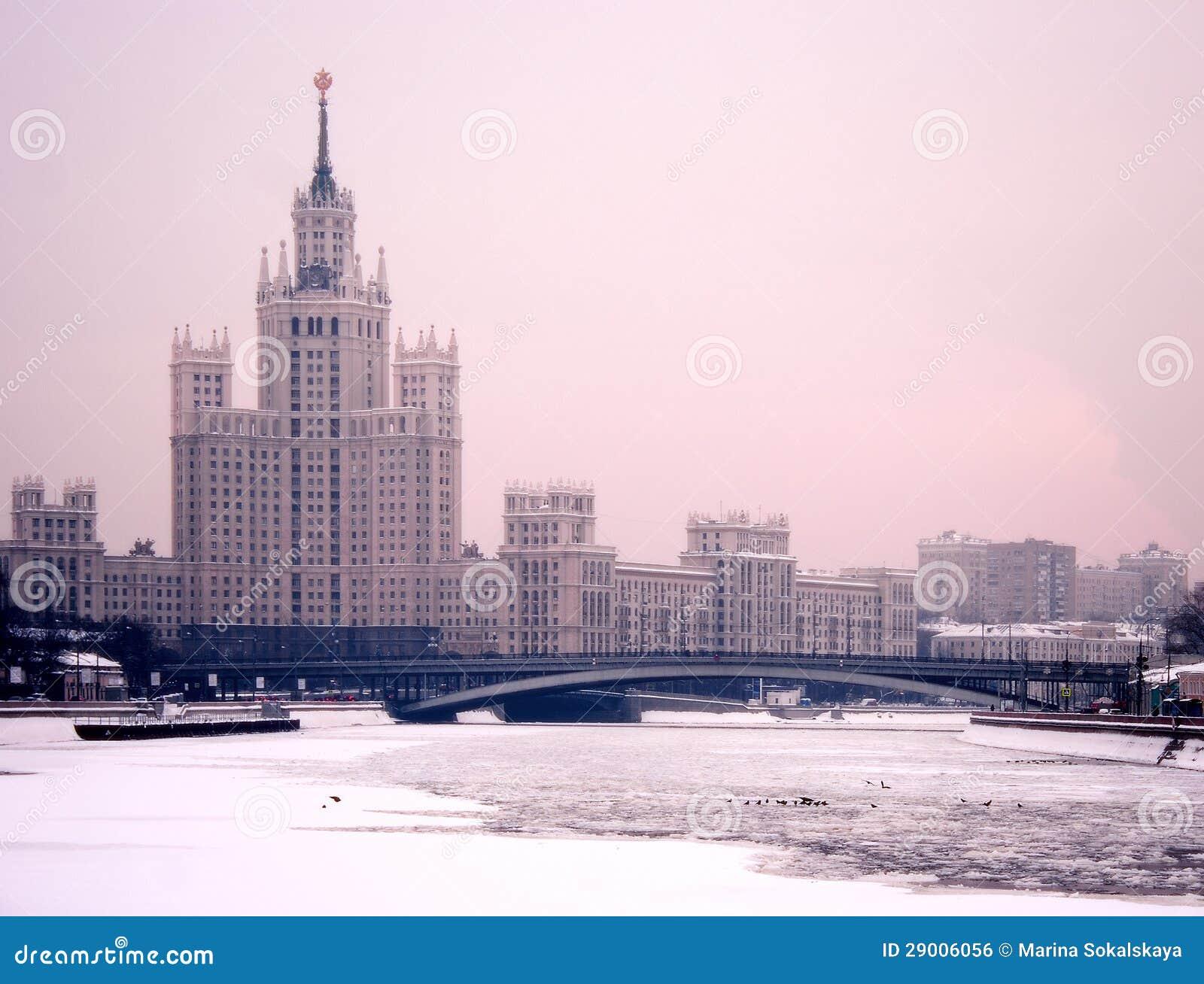 De winterschemering van Moskou