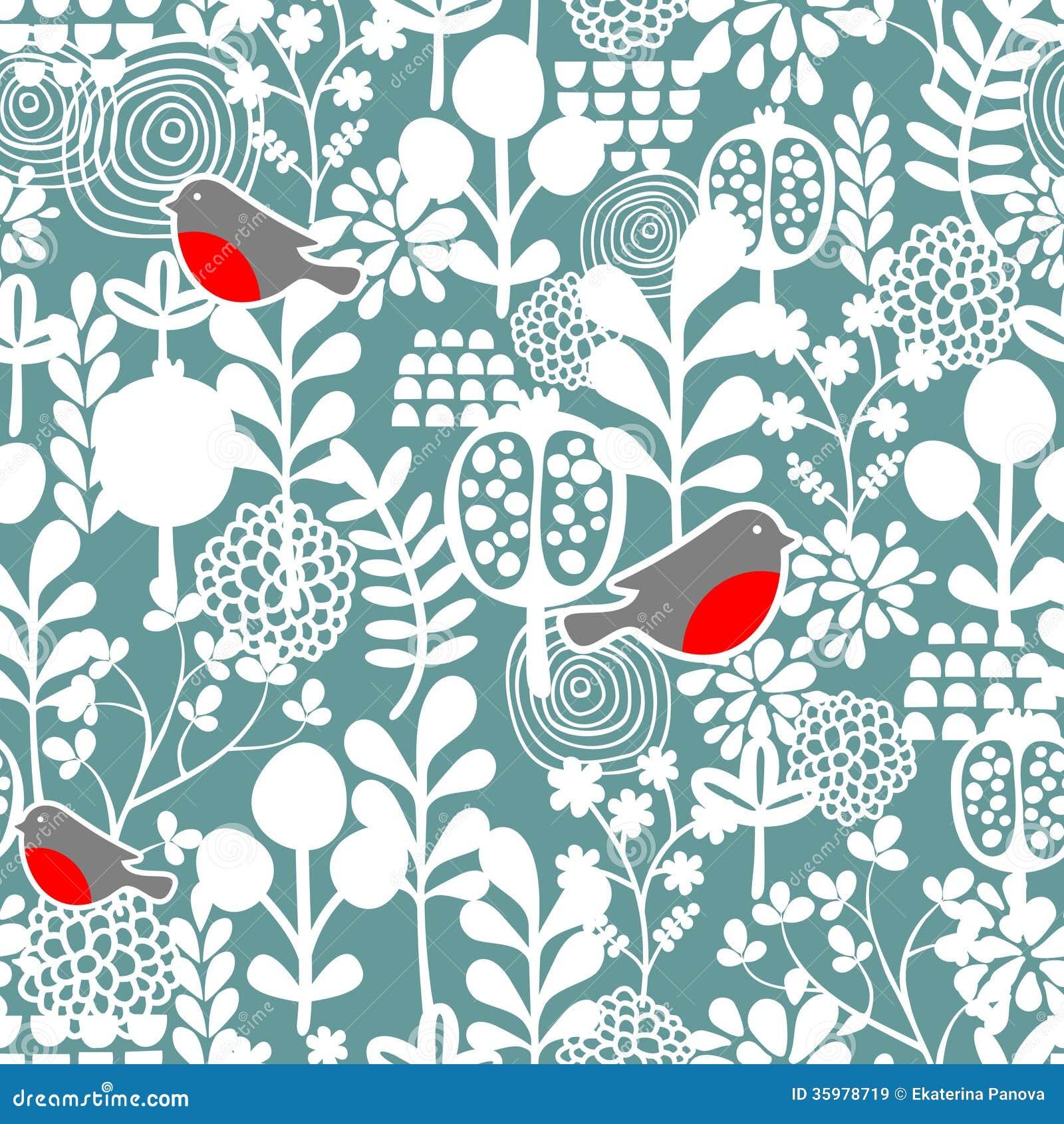 De wintervogels en bevroren bloemen naadloos patroon.