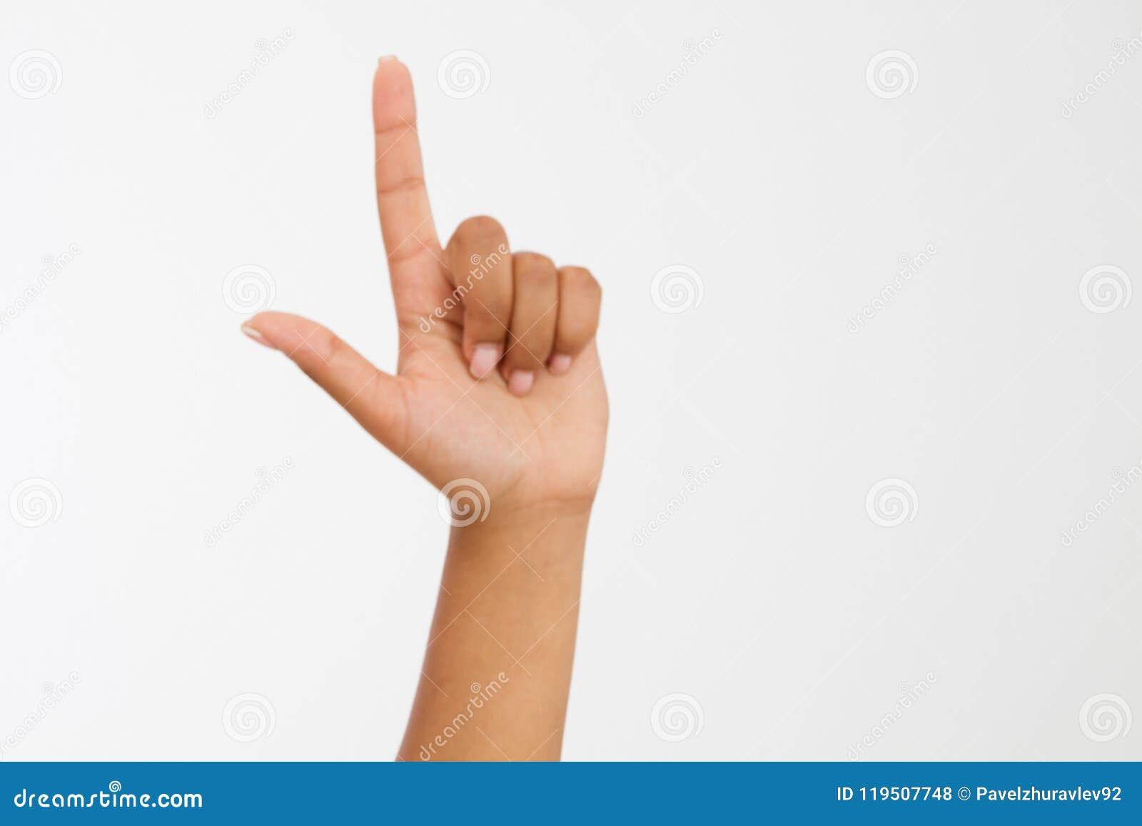 De witte achtergrond van het vingerpunt afro Amerikaanse hand Spot omhoog De ruimte van het exemplaar malplaatje spatie