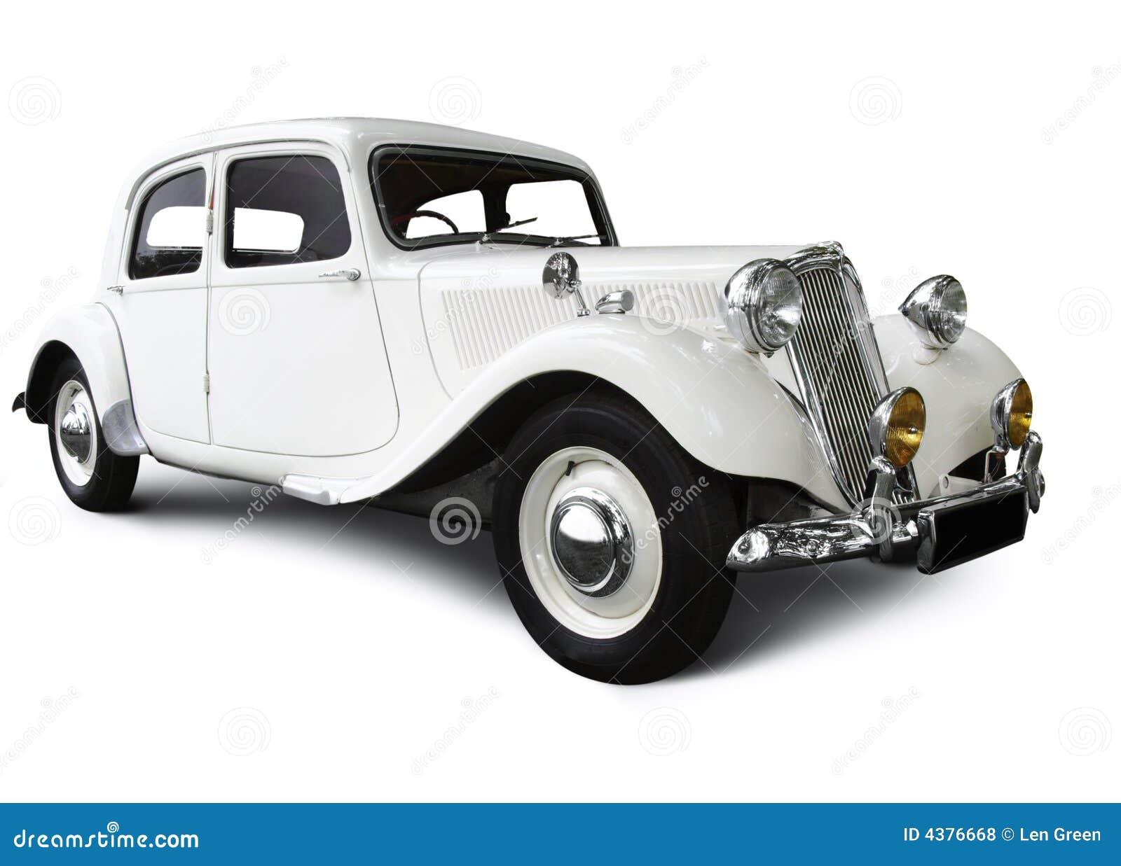 De witte auto van het huwelijk stock foto afbeelding