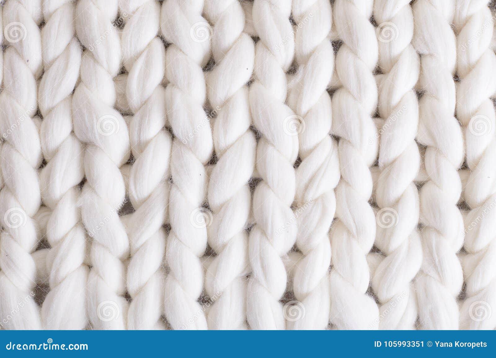 De witte grote plaid breit textuurvlecht gebreide deken