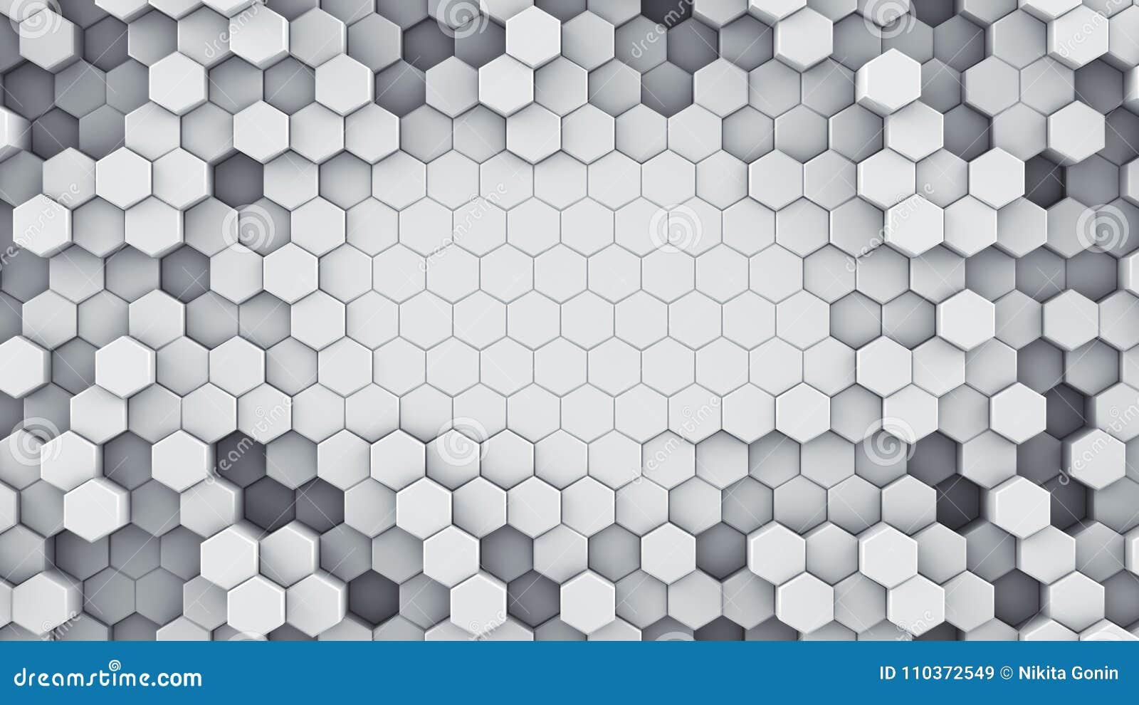 De witte hexagonale cellen vatten het 3D teruggeven samen