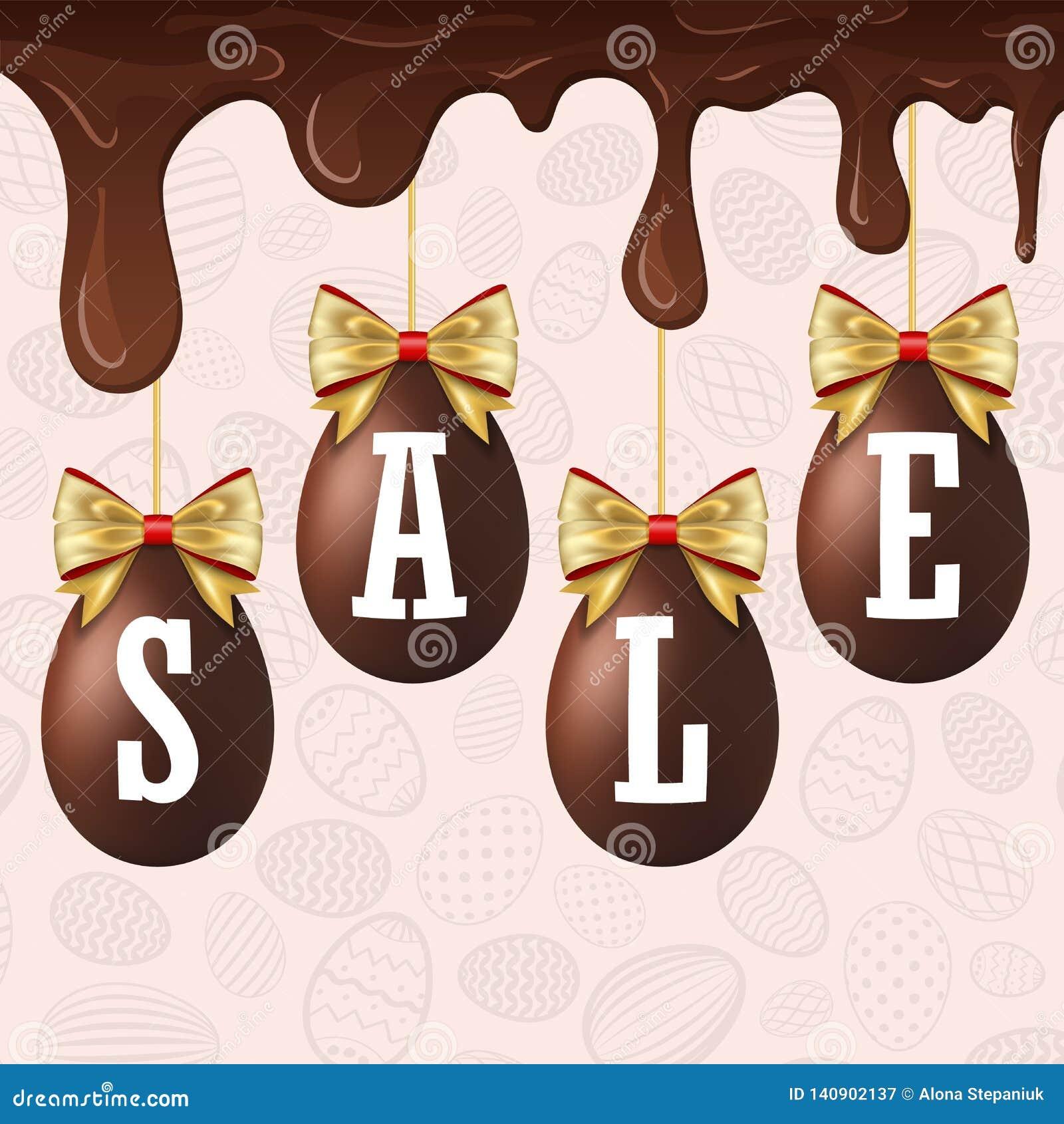 De witte tekst van de paaseiverkoop De gelukkige chocolade van de de eieren 3D, druipende smelting van Pasen hangende, gouden lin