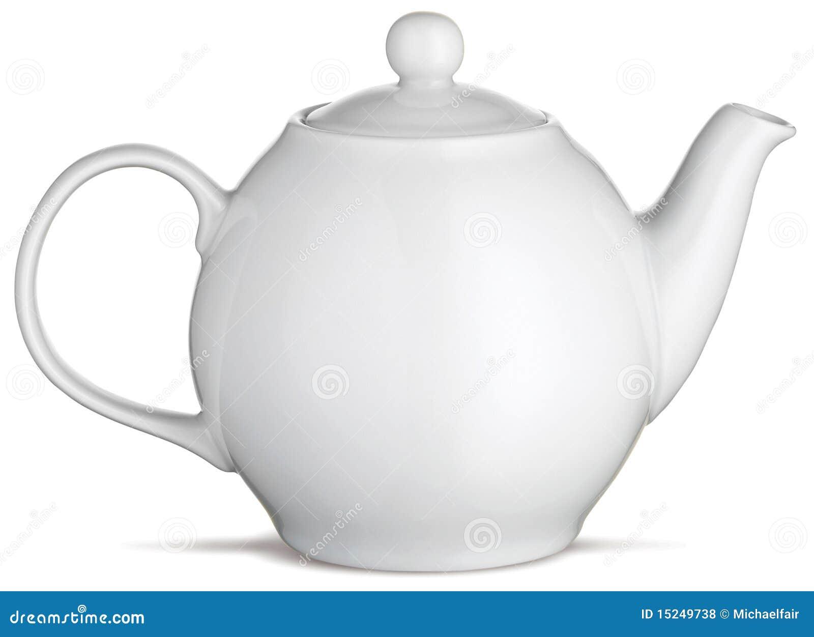 De witte theepot van de de theepot van China op een witte achtergrond