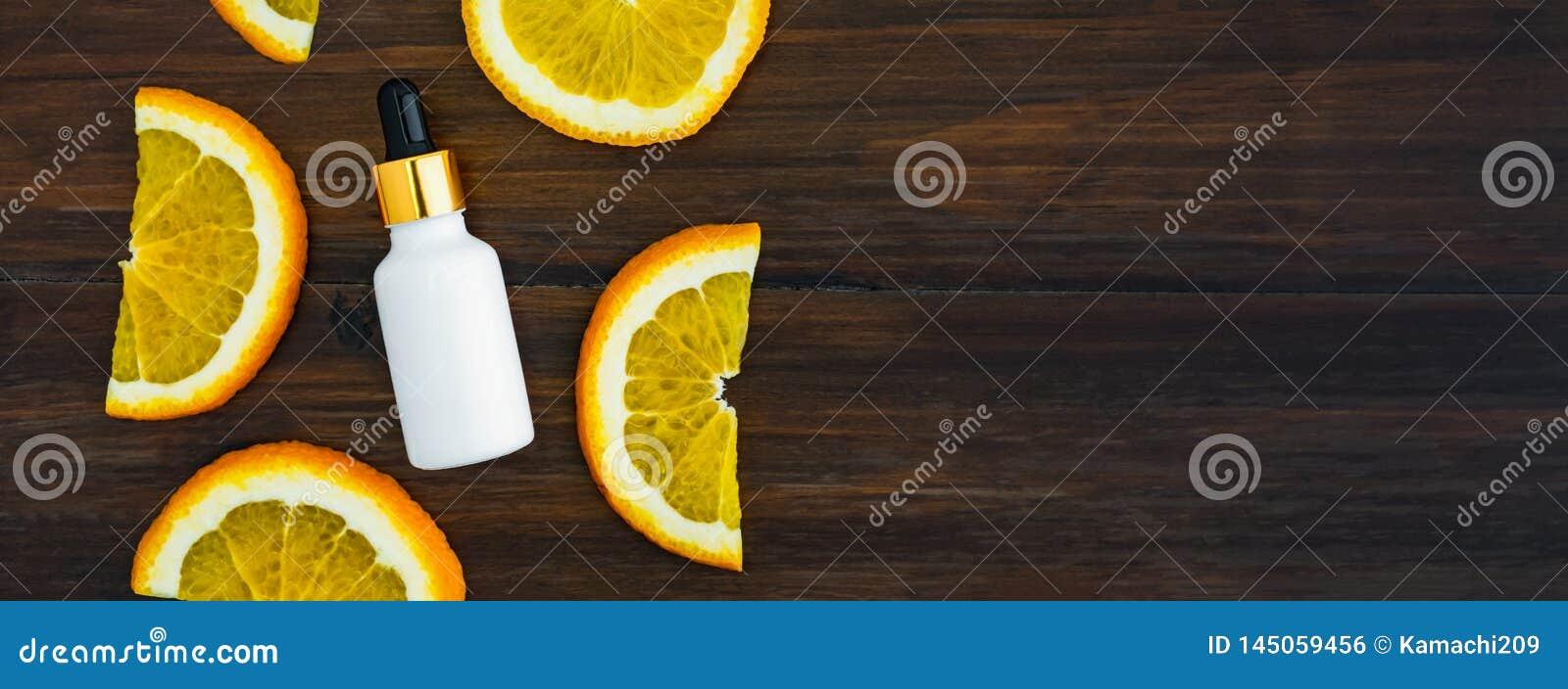 De witte de vitamine Cfles en olie maakten van oranje fruituittreksel, model van het merk van het schoonheidsproduct Hoogste meni