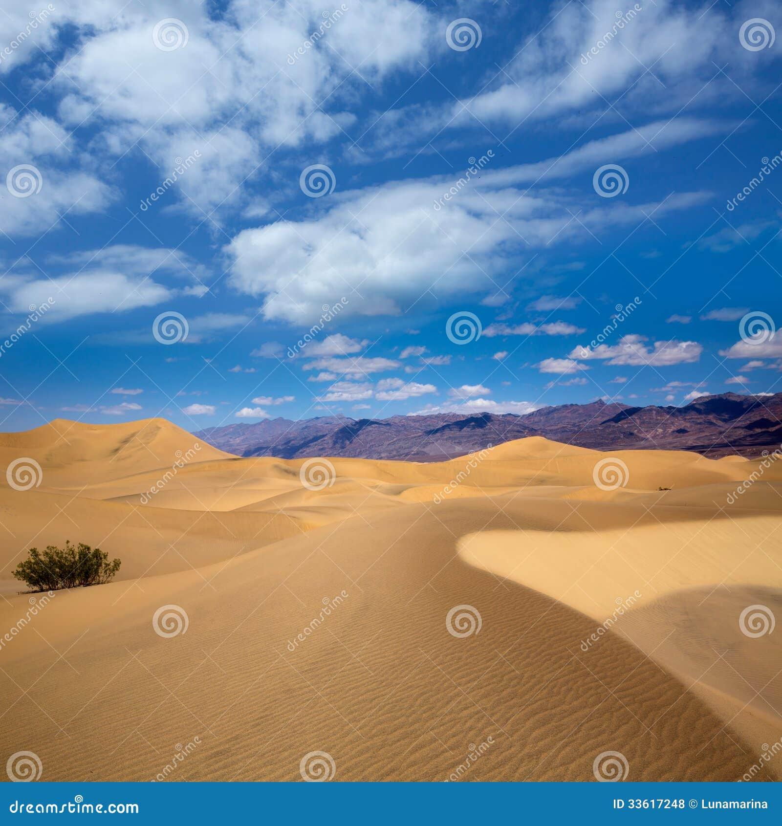 De woestijn van Mesquiteduinen in het Nationale Park van de Doodsvallei