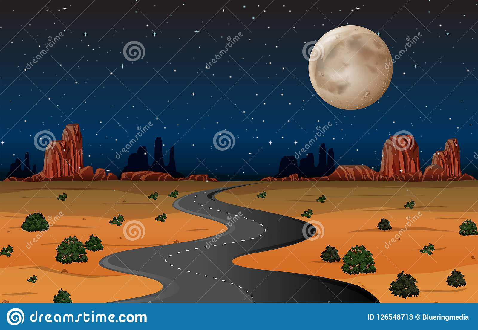 De woestijnweg van Arizona bij nacht