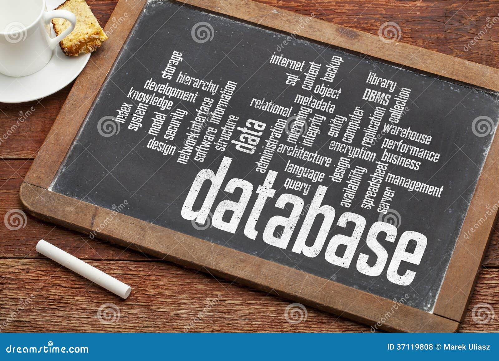 De wolk van het gegevensbestandwoord op bord