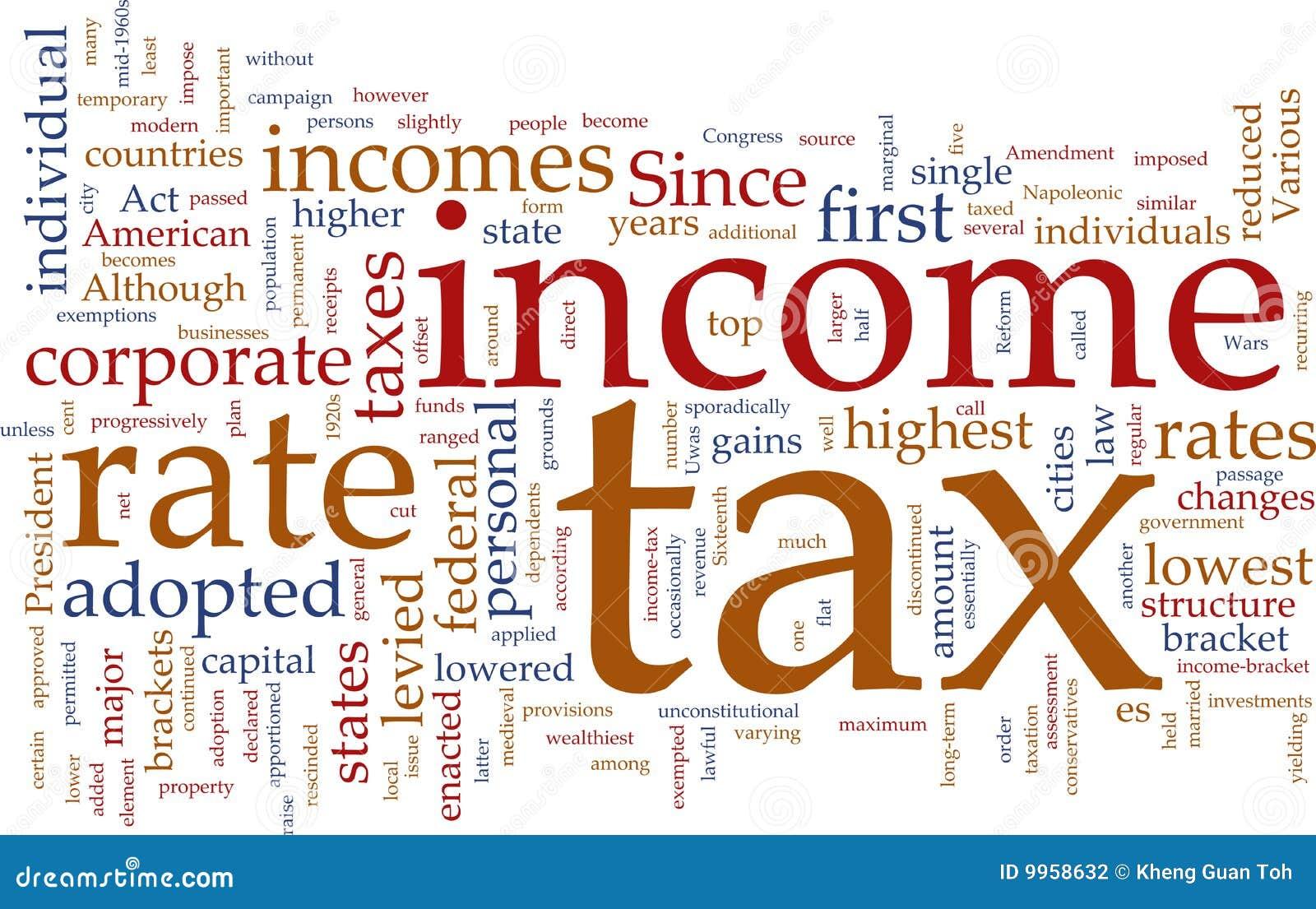De wolk van het inkomstenbelastingswoord