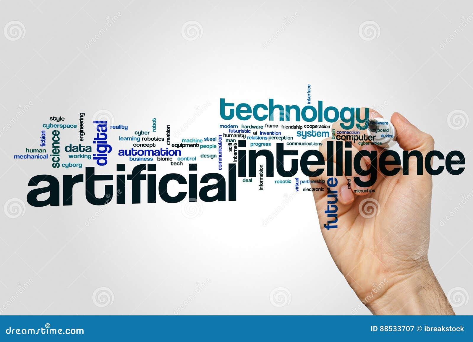 De wolkenconcept van het kunstmatige intelligentiewoord op grijze achtergrond