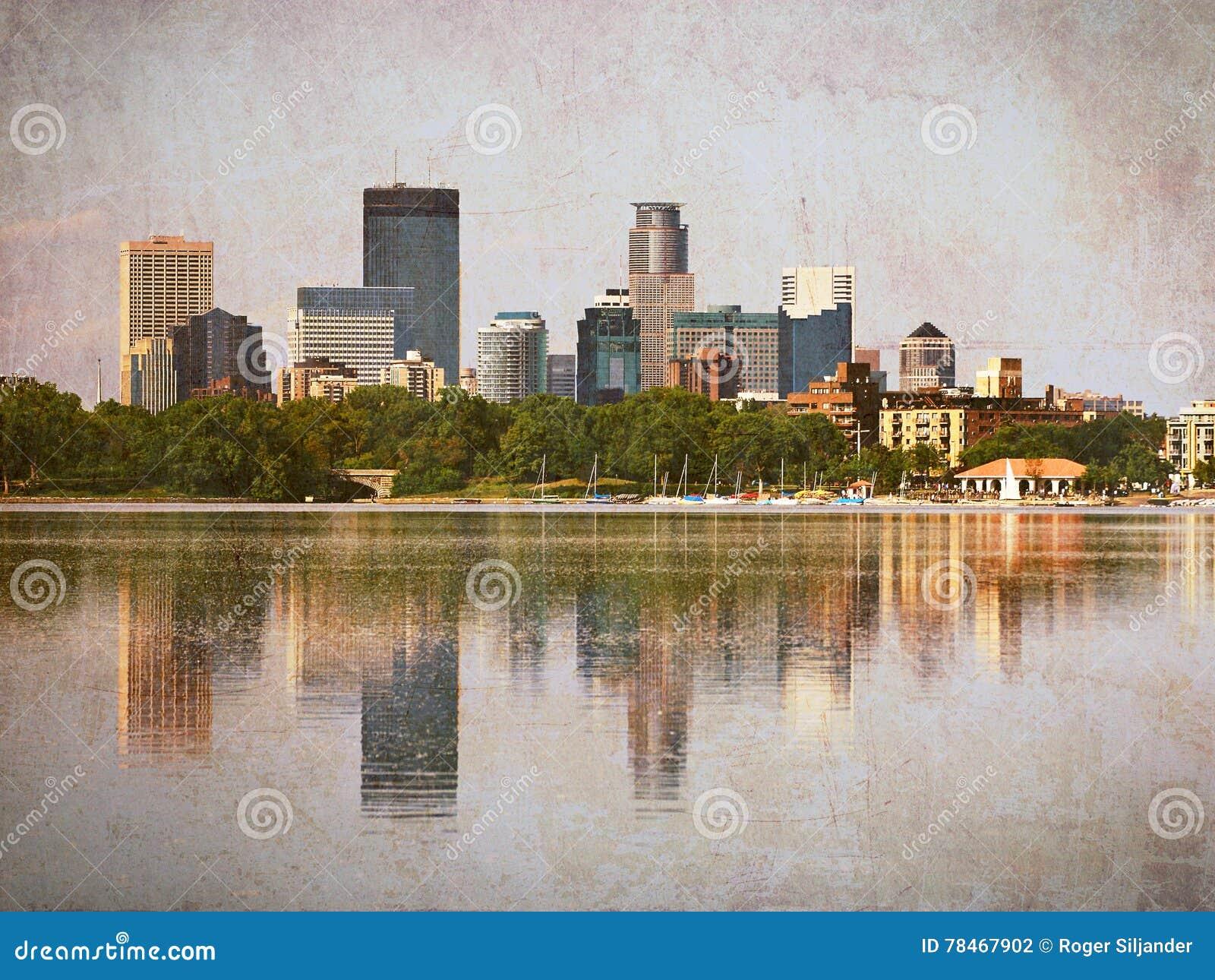 De Wolkenkrabbers die van Minneapolis in Meer Calhoun met Uitstekende Gevolgen nadenken