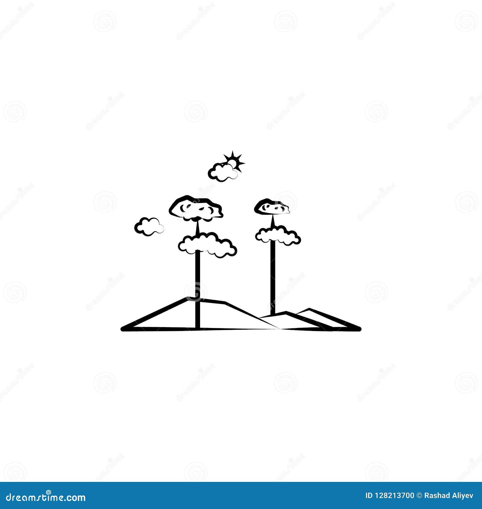 De wolkenpictogram van de boomzon Element van landschapspictogram voor mobiel concept en Web apps Kan het hand getrokken de wolke