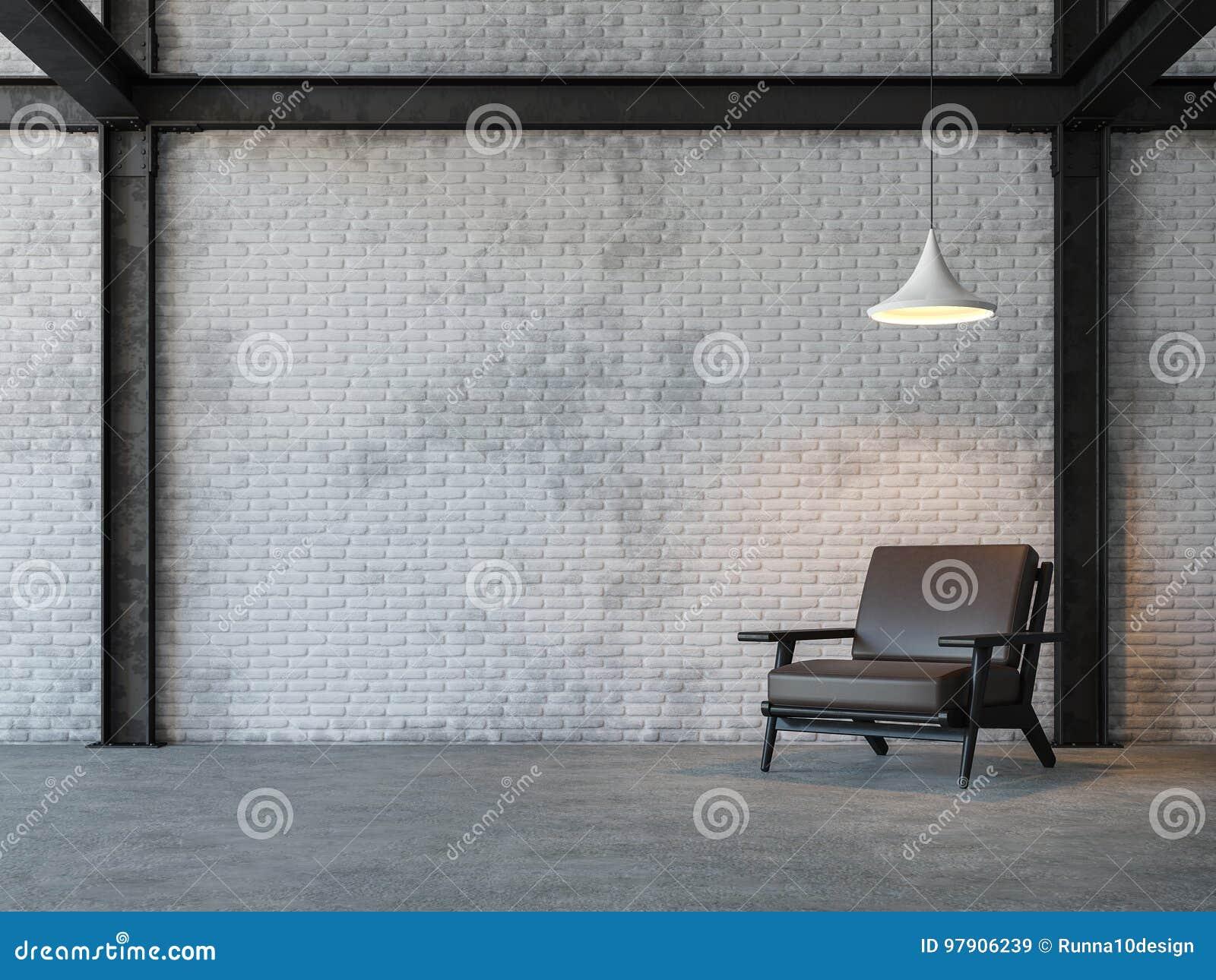 De woonkamer 3d teruggevend beeld van de zolderstijl