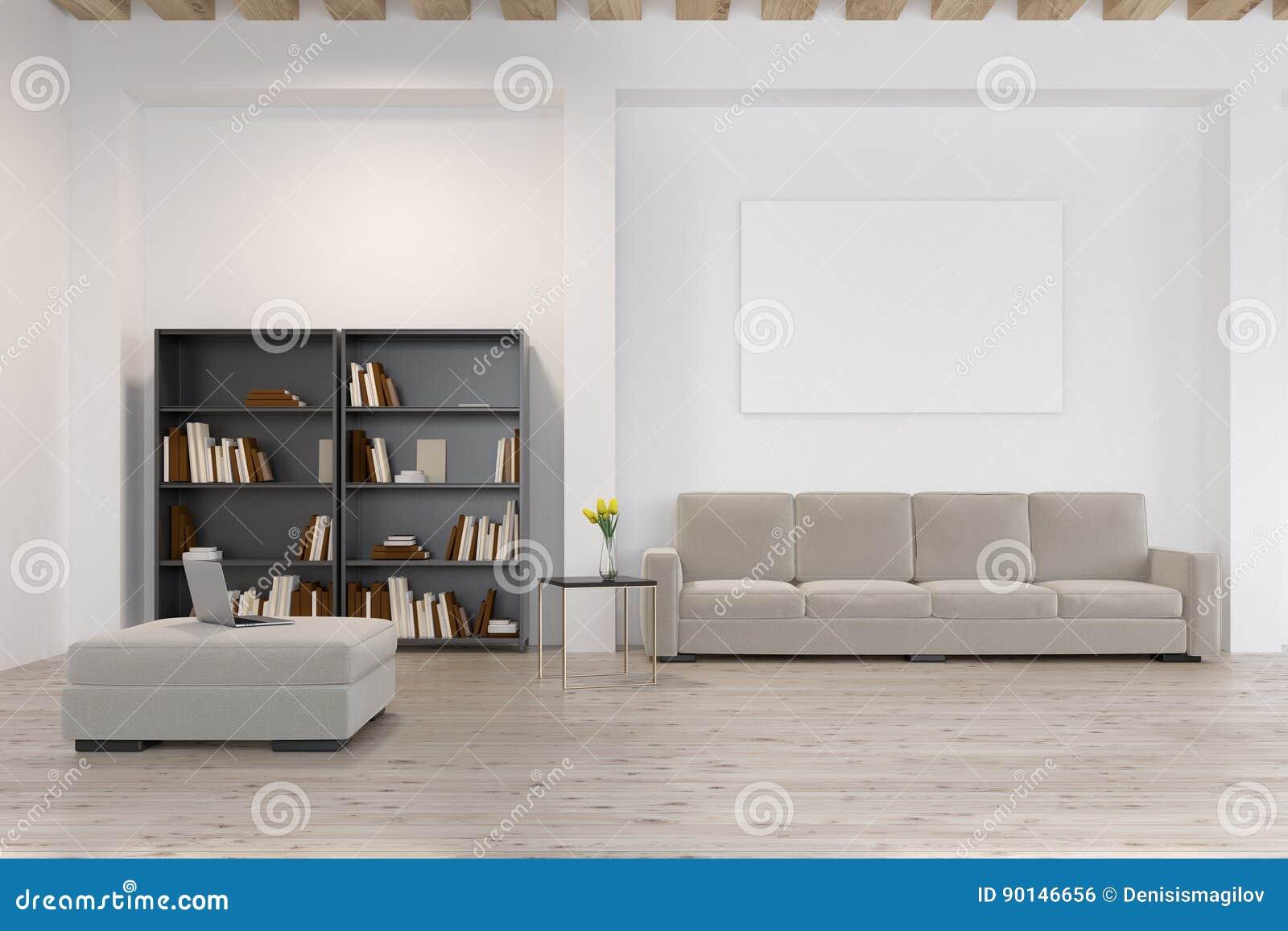Woonkamer Met Boekenkast : De woonkamer met boekenkast sluit omhoog stock illustratie