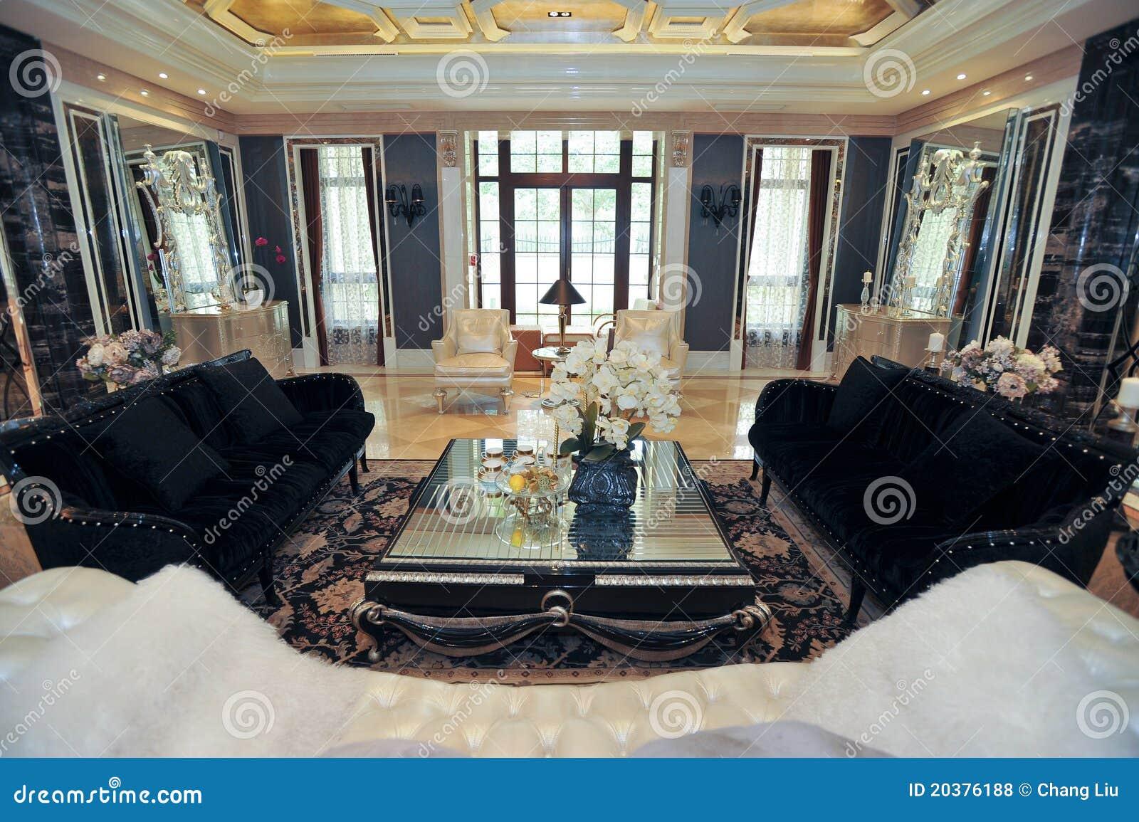 De woonkamer zwarte bank van de villa stock foto afbeelding 20376188 - Na de zwarte bank ...