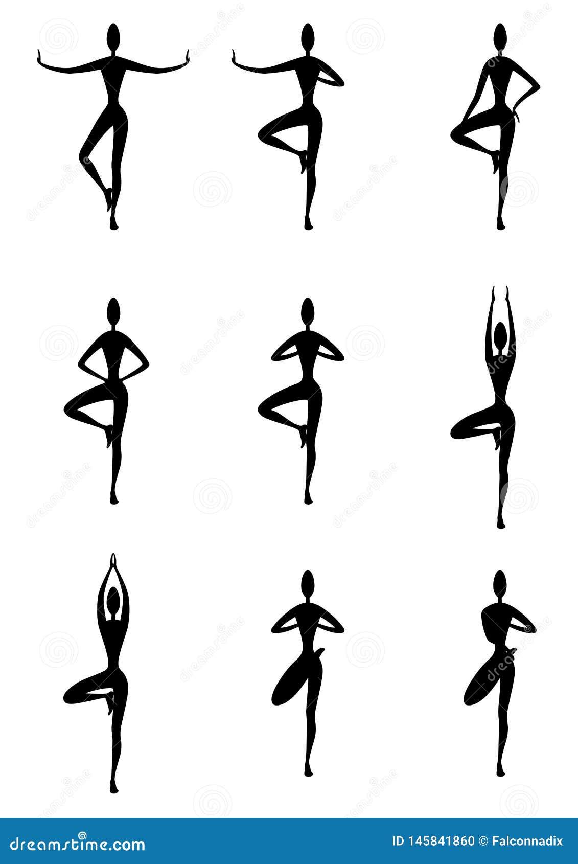 De yogaboom stelt geplaatste variaties