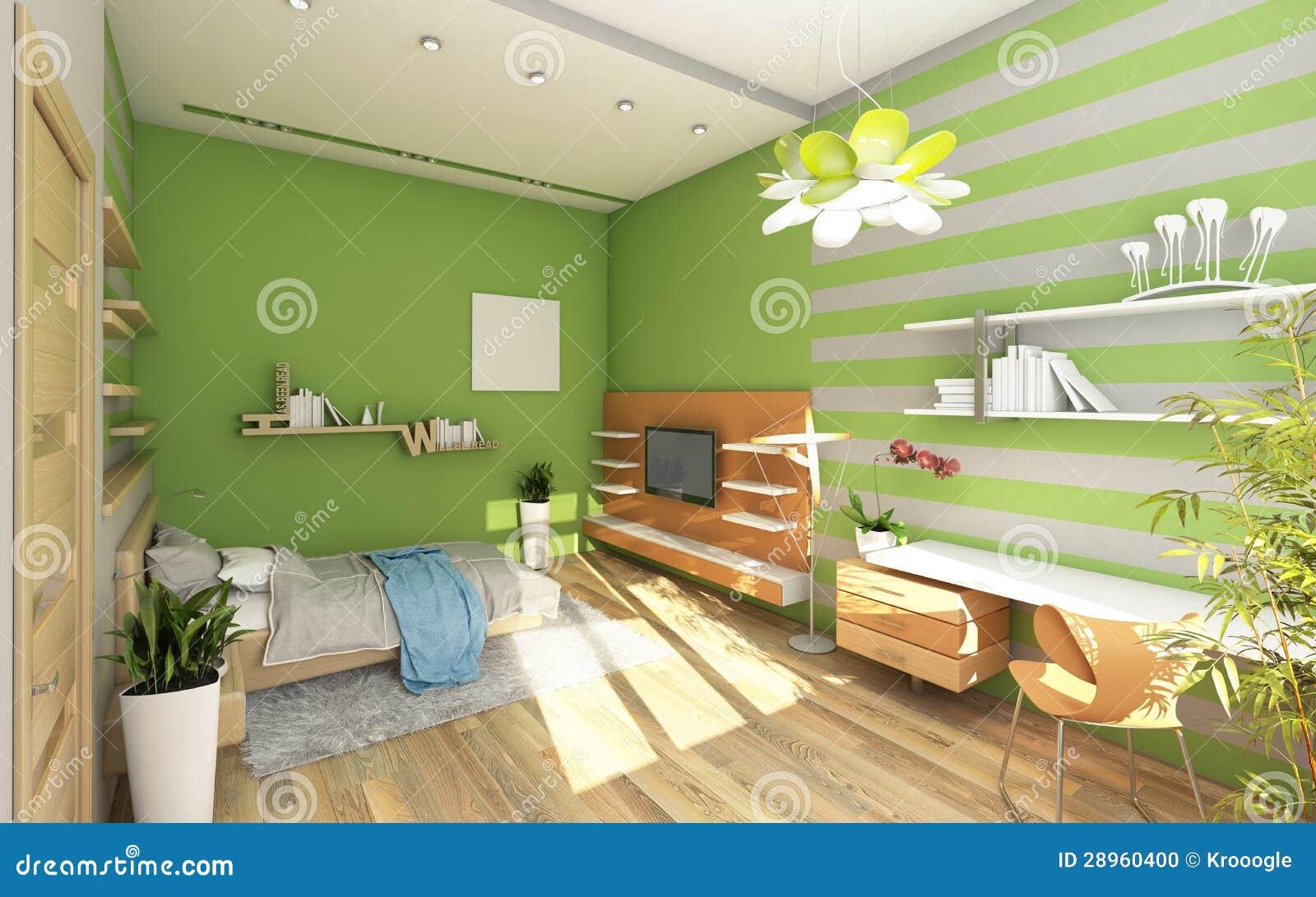 De zaal van de tiener met gekleurde muur stock foto   afbeelding ...