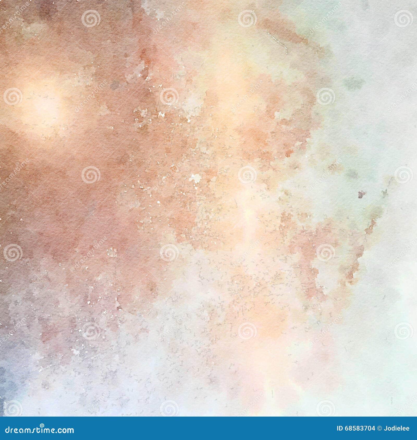 De zachte achtergrond van de pastelkleur grungy abstracte waterverf in blauw en bruin