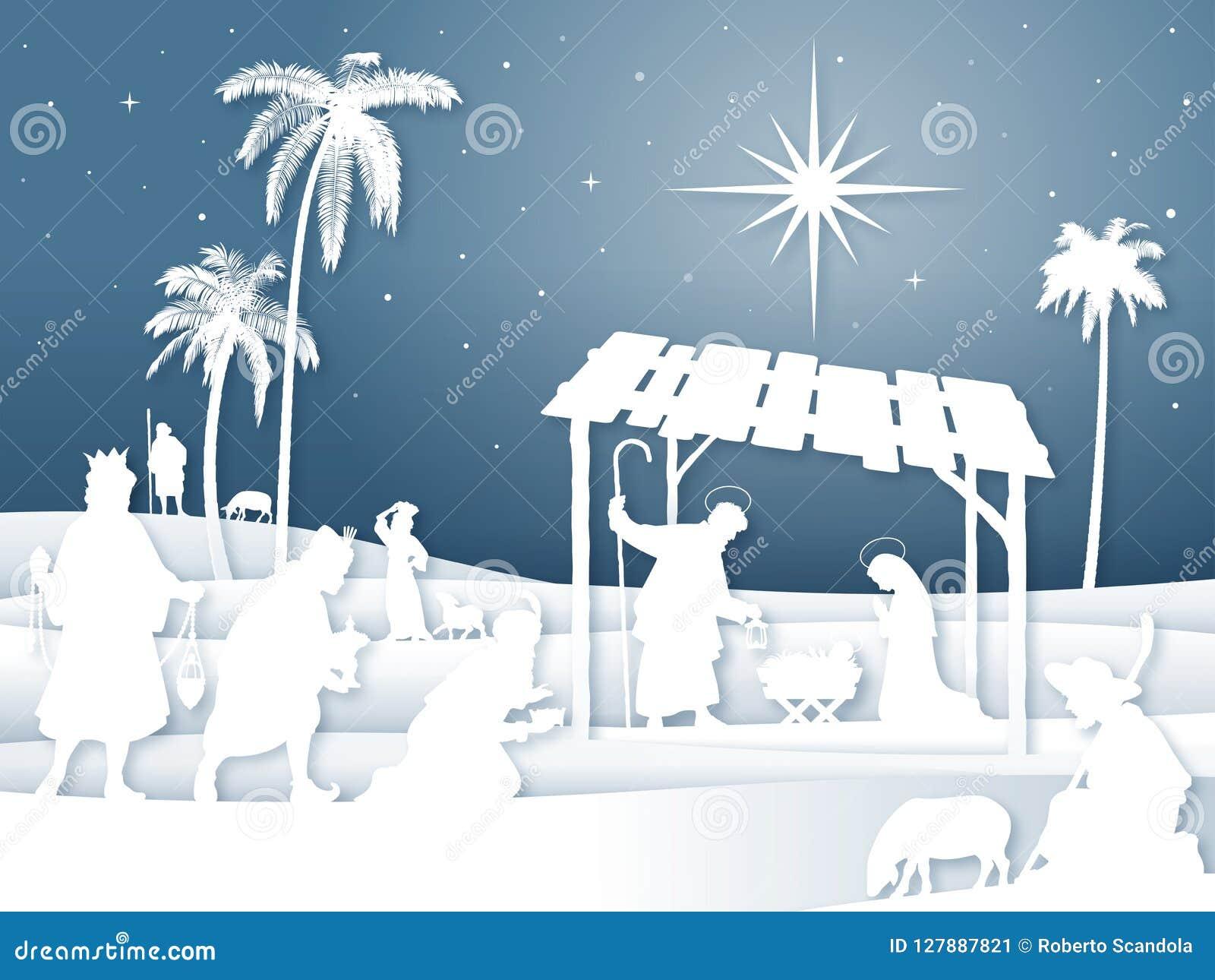 De zachte scène van de Kerstmisgeboorte van christus van het schaduwen Witte Silhouet met Magi