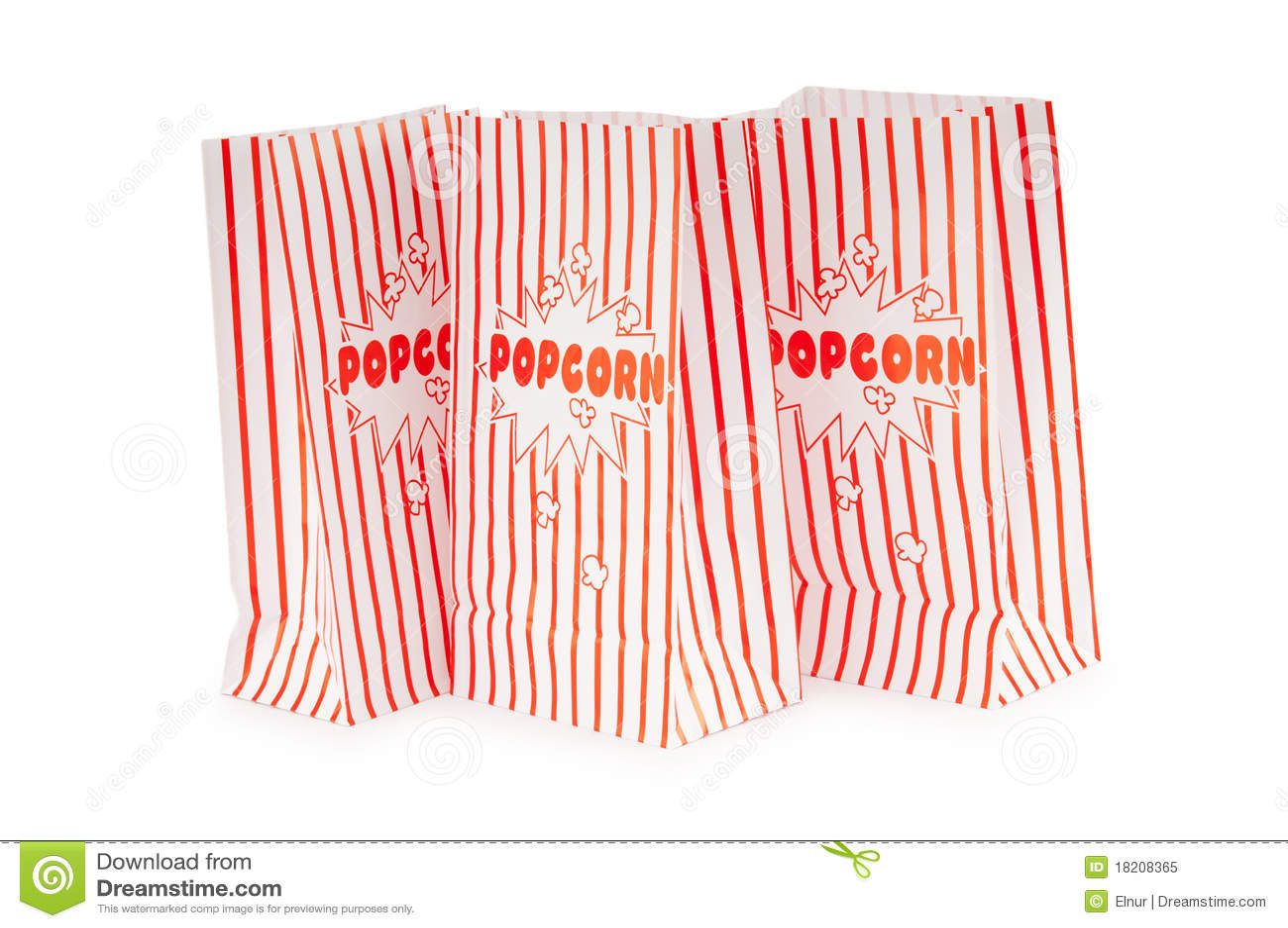 De zak van de popcorn die op het wit wordt geïsoleerdo