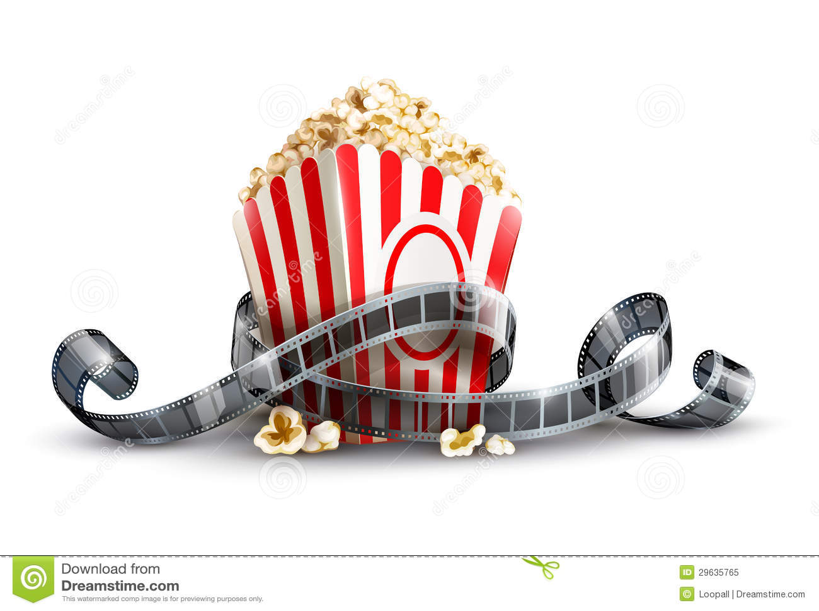 De zak van het document met popcorn en filmspoel
