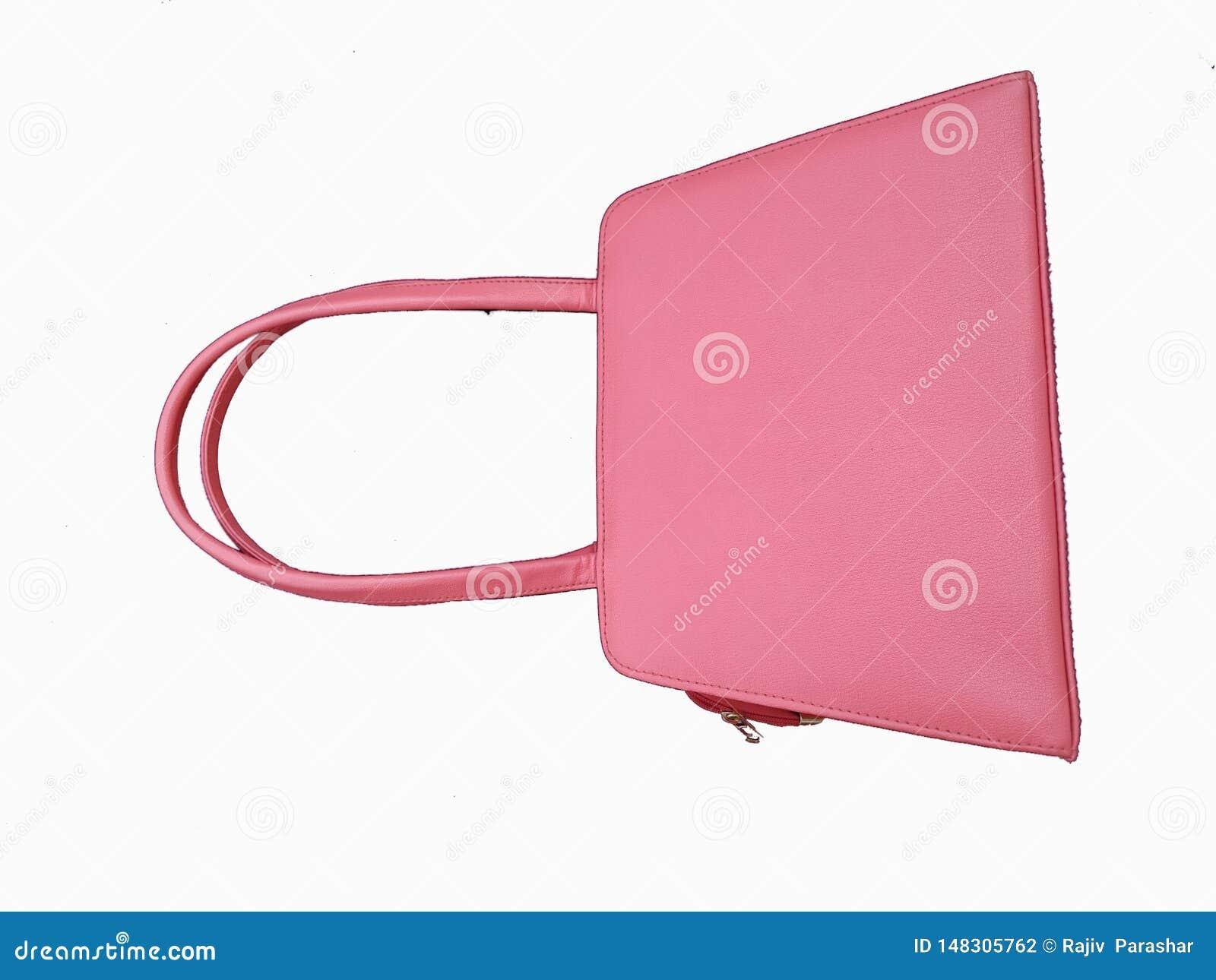 De zak van de roze vrouw die op witte achtergrond wordt geïsoleerd